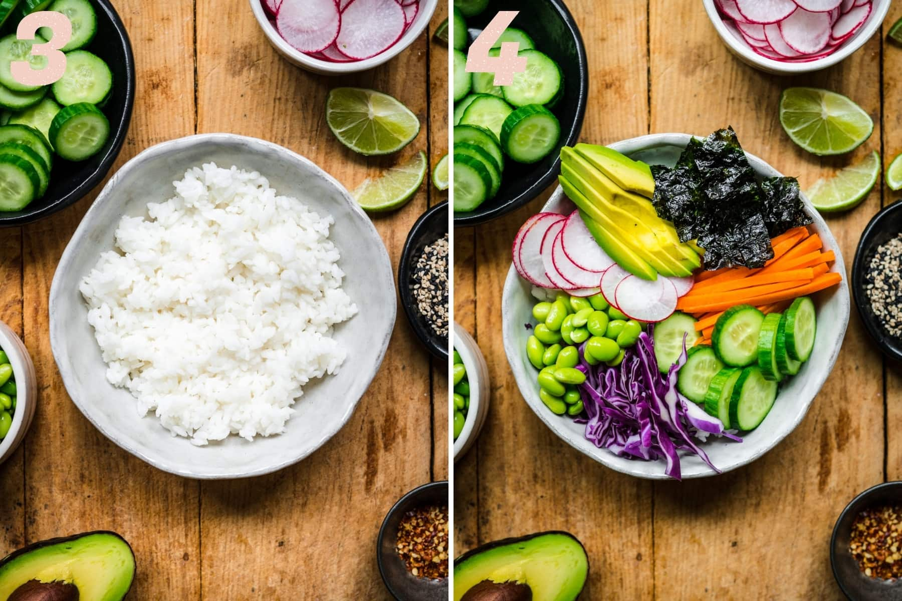 before and after adding vegetables to vegan sushi bowl.