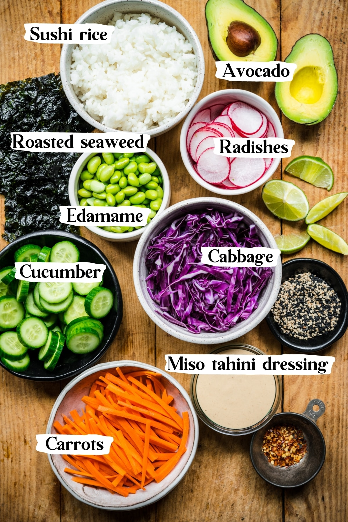 overhead view of ingredients for vegan sushi bowls.