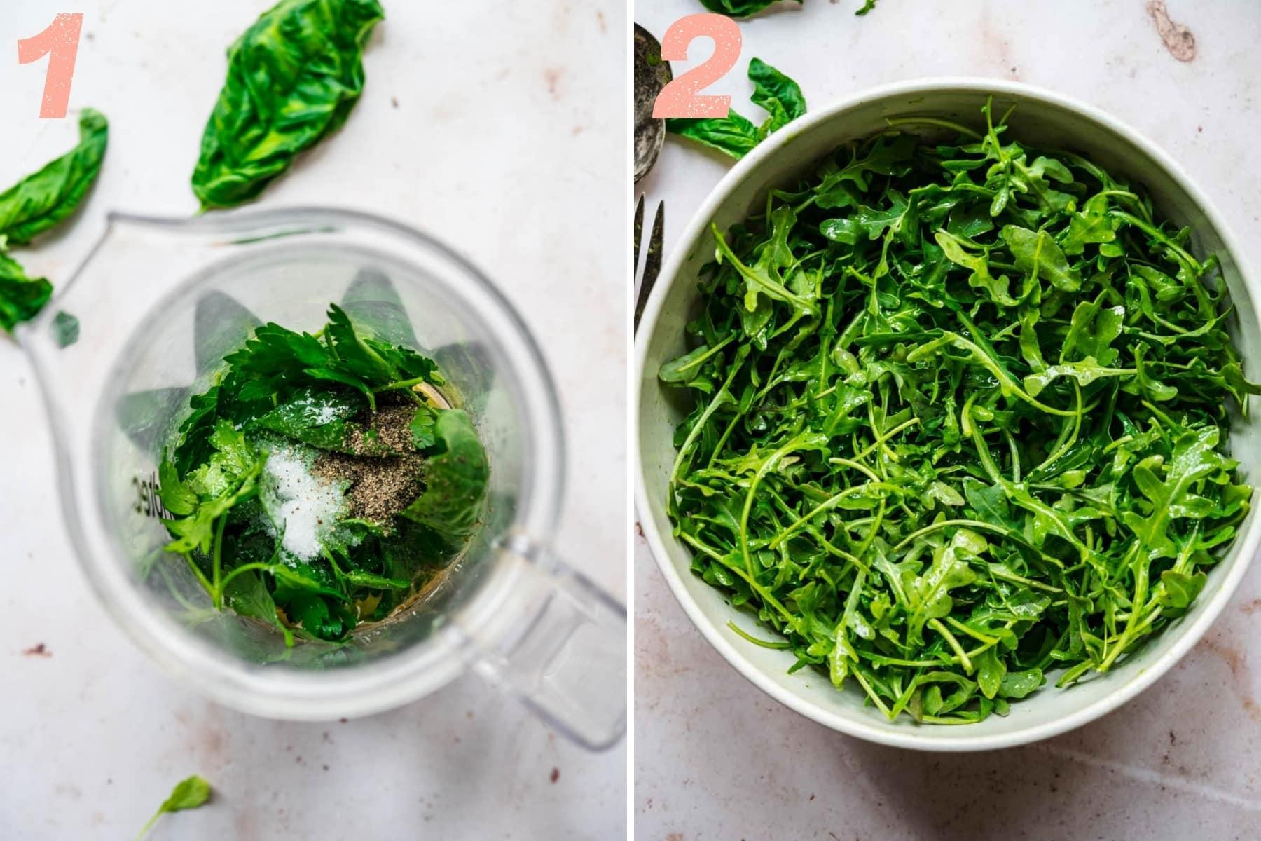 on the left: ingredients in blender to make basil vinaigrette. on the right: dressed arugula in large salad bowl.