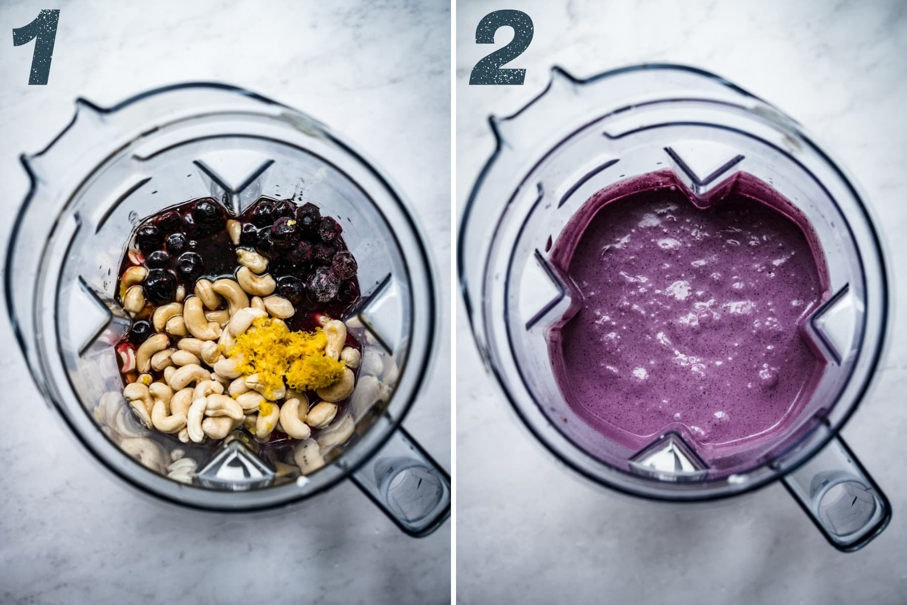 before and after blending ingredients for vegan blueberry lemon ice cream in blender.