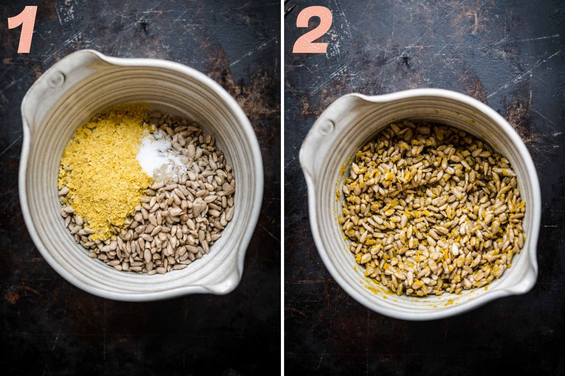 before and after stirring together ingredients for cheesy vegan sunflower seeds in small bowl.