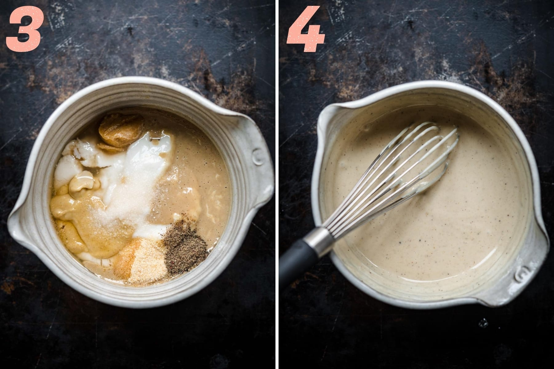 before and after whisking together ingredients for tahini mayo dressing.