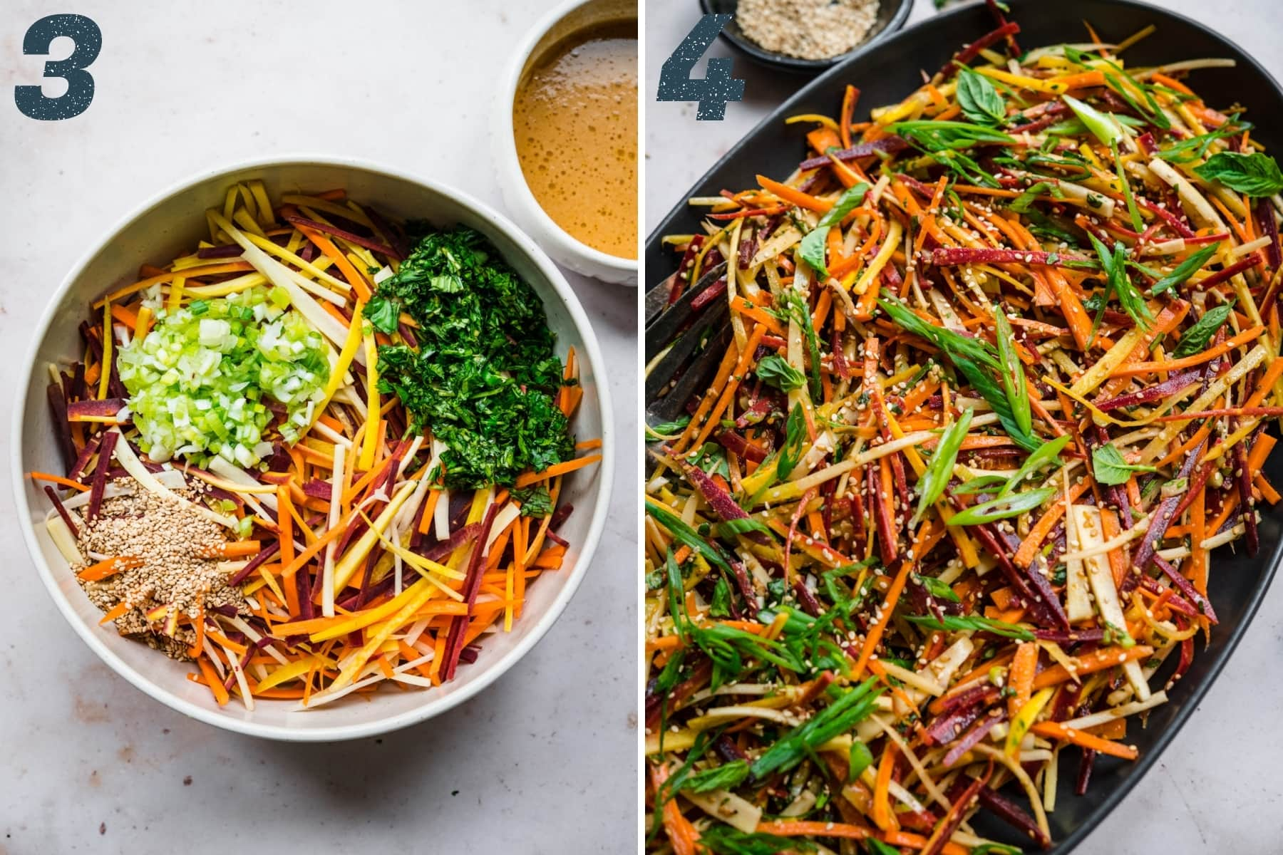 before and after mixing together ingredients for carrot sesame salad.