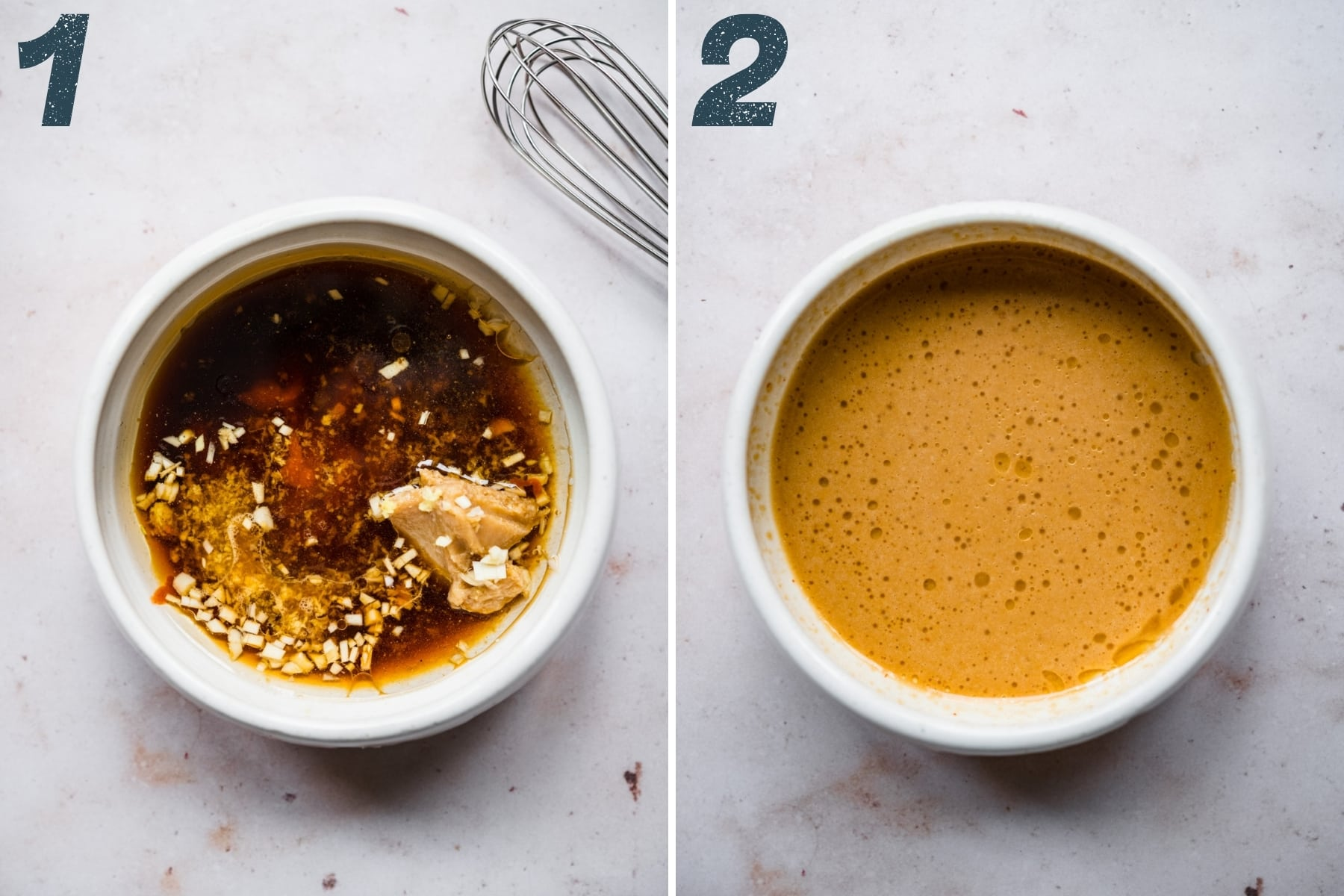 before and after whisking together ingredients for miso sesame dressing.