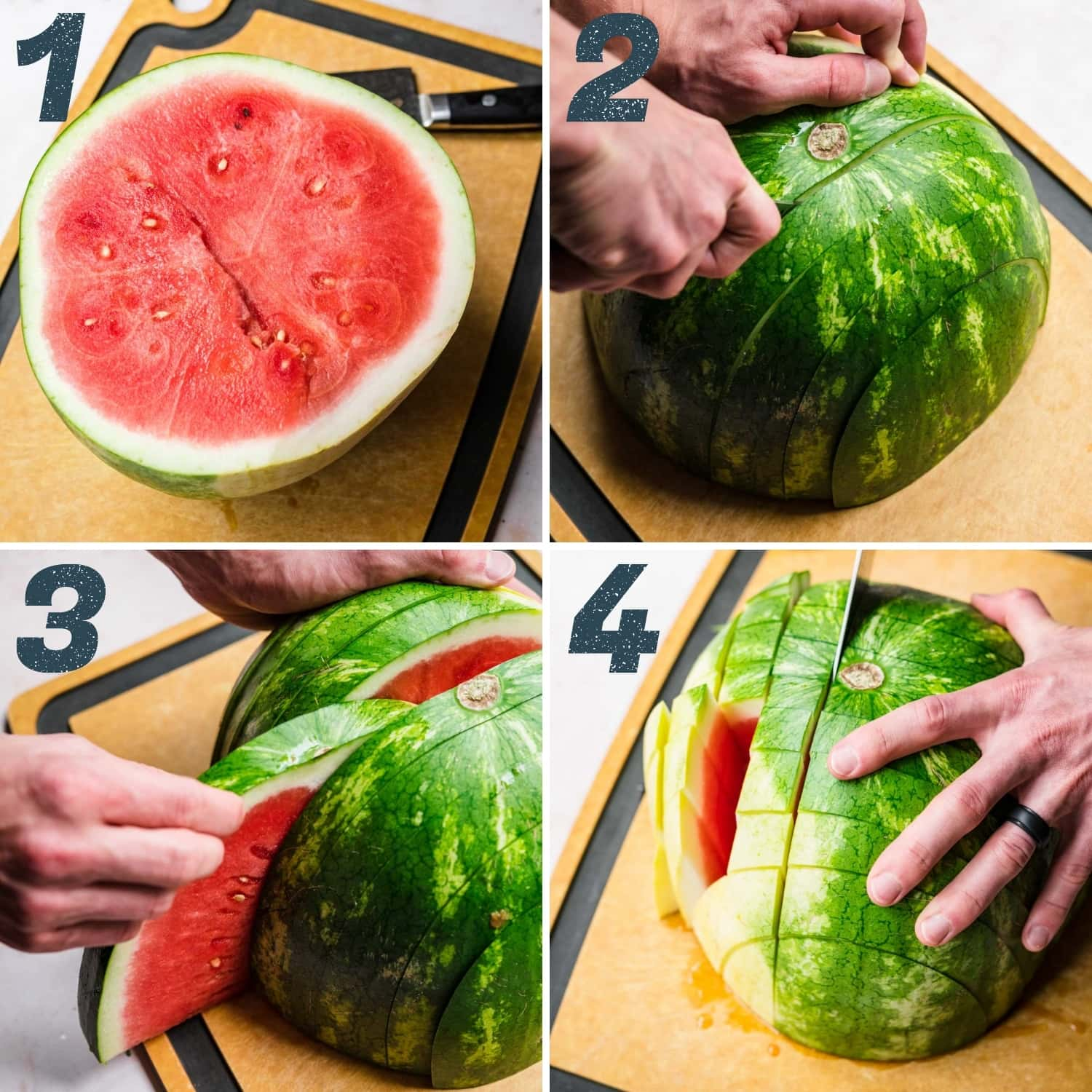 person slicing halved watermelon into cubes lengthwise and widthwise.