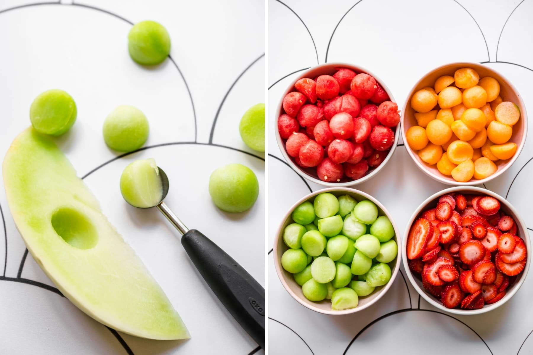 on the left: melon baller with honeydew. on the right: four bowls filled with watermelon, canteloupe, honeydew and strawberries.