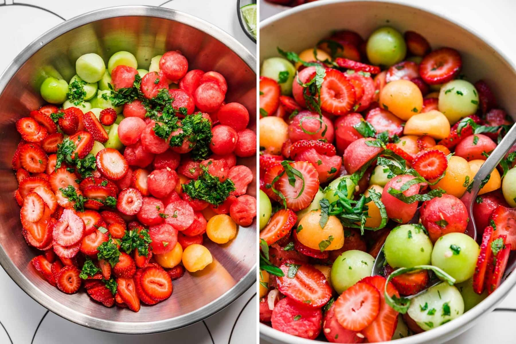 before and after stirring together ingredients for melon salad with strawberries and mint.
