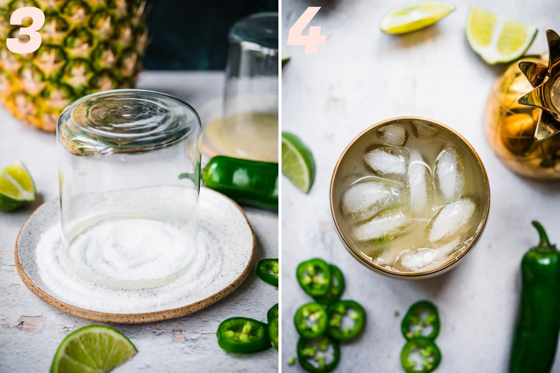 on the left: dipping cocktail glass in salt. on the right: ingredients for pineapple margarita in cocktail shaker.