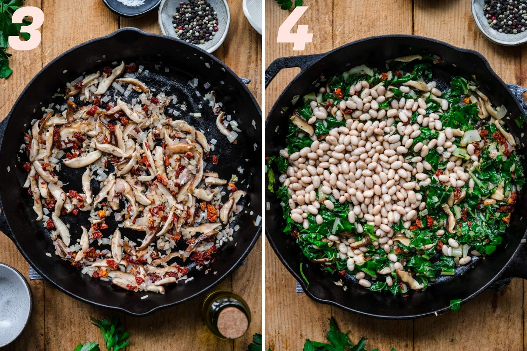 before and after adding white beans and greens to sautéed mushrooms and sun dried tomatoes.