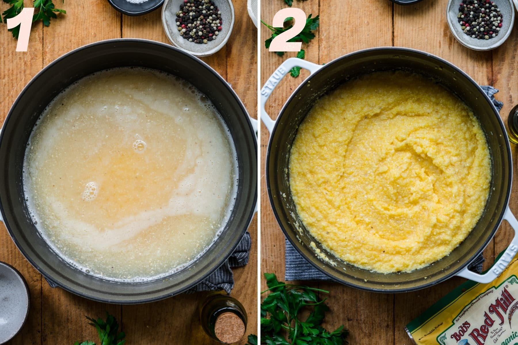 what polenta looks like before and after it's cooked in a large pot.