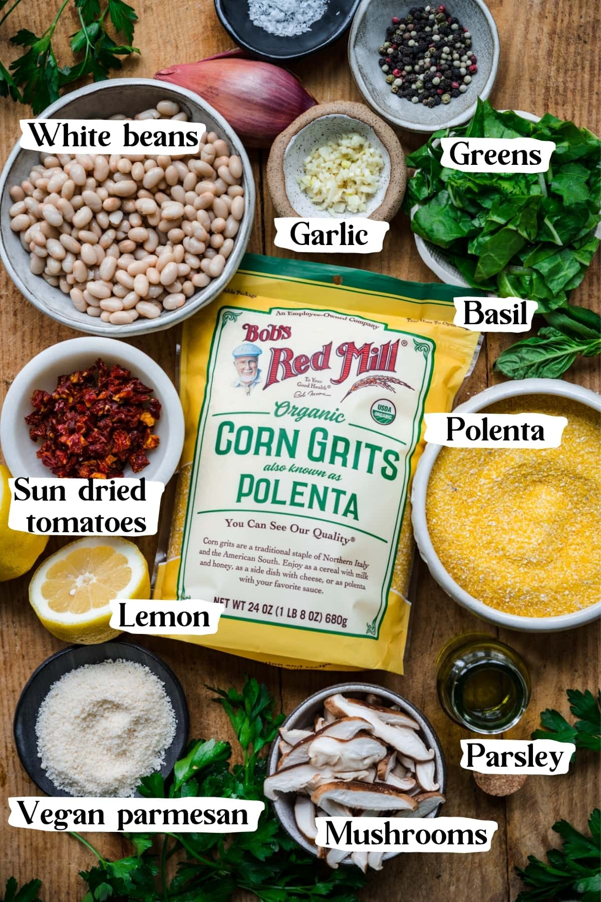 overhead view of ingredients for vegan polenta with vegetables and white beans.