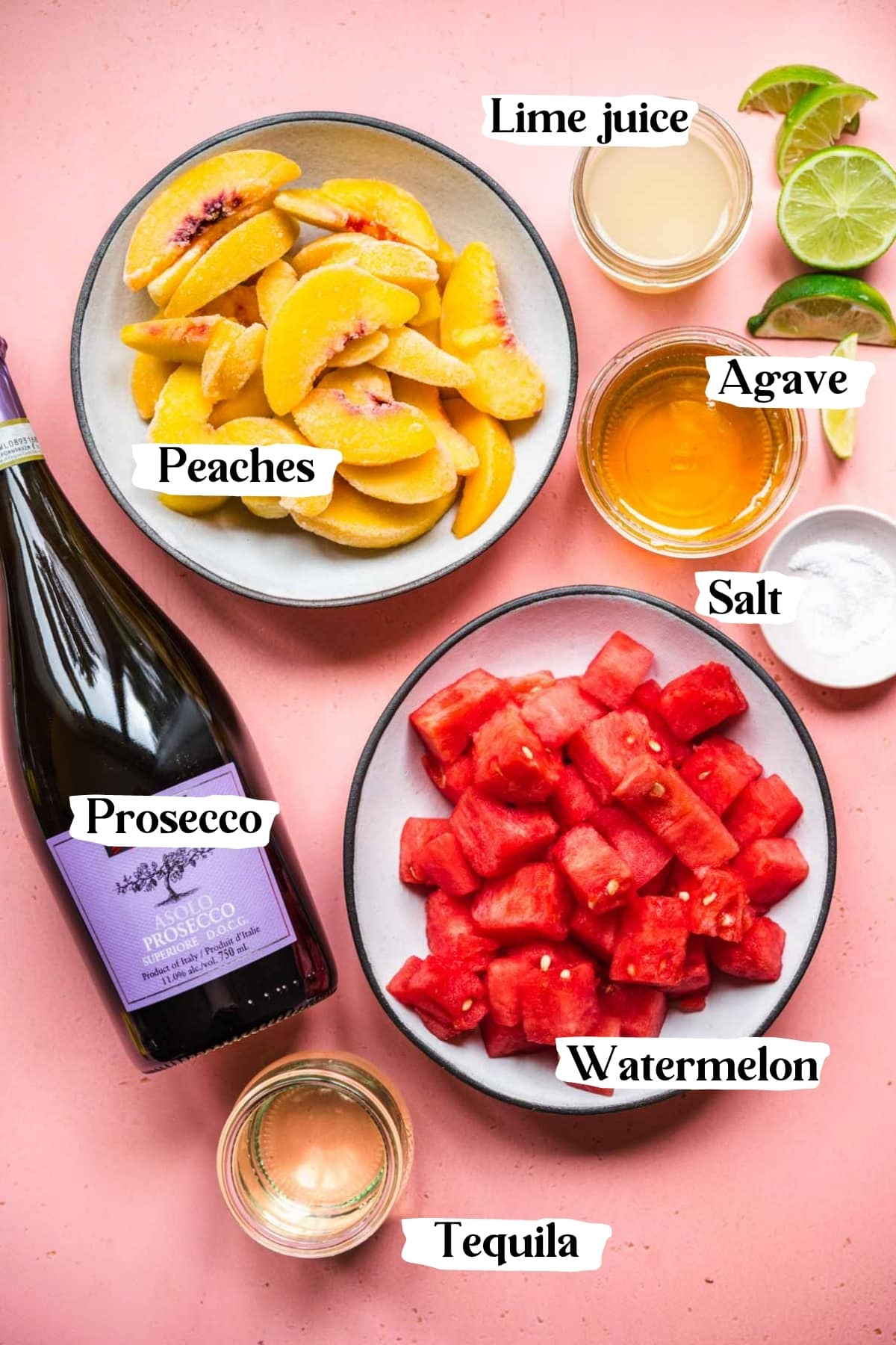 overhead view of peaches, watermelon cubes, prosecco bottle and other ingredients for popsicles.