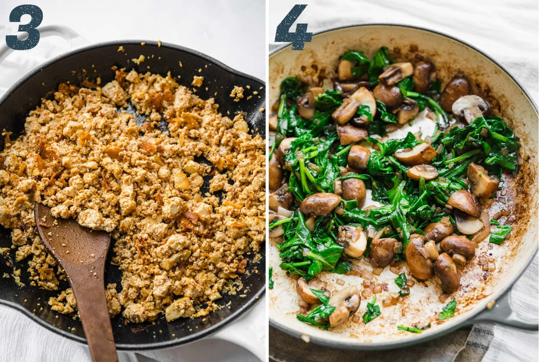 on the left: crispy crumbled tofu in pan. on the right: sauteed mushrooms and kale in pan.
