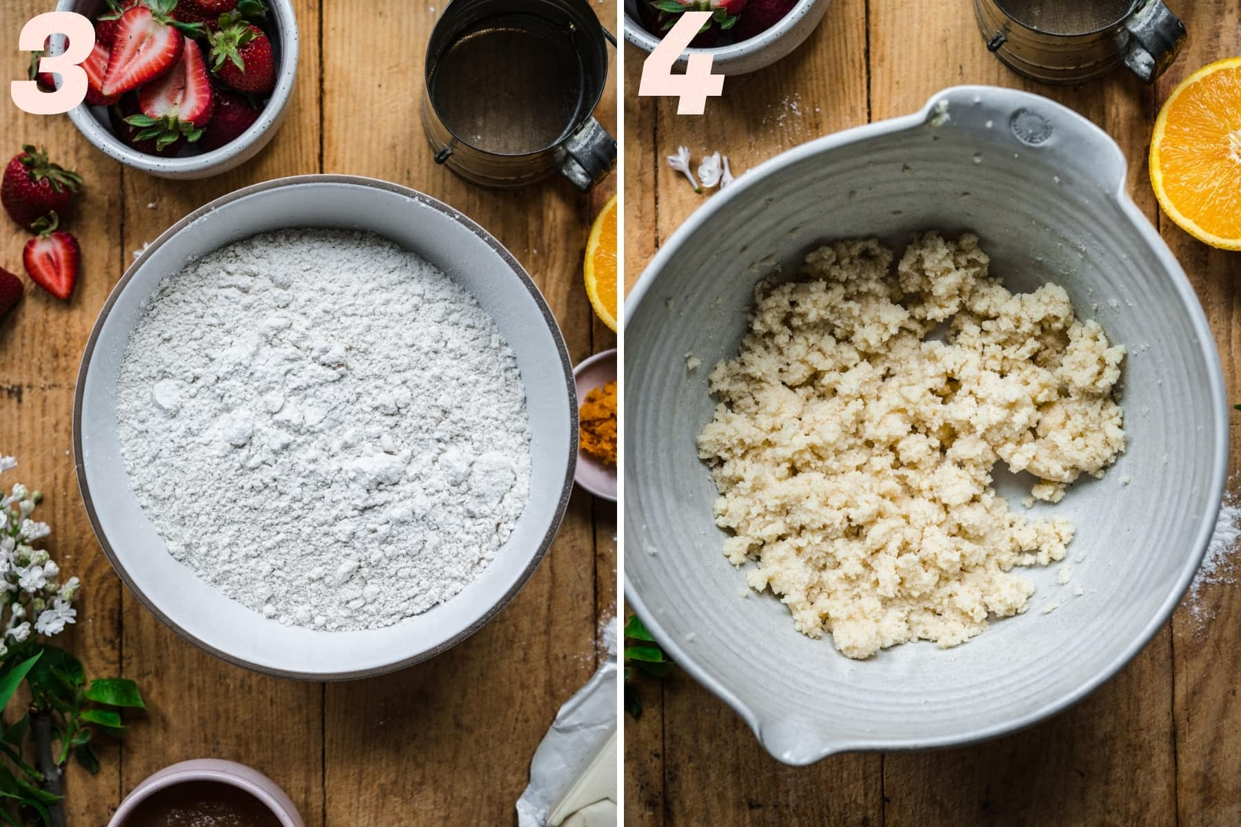 on the left: dry ingredients mixed together in a bowl. on the right: butter and sugar in mixing bowl.