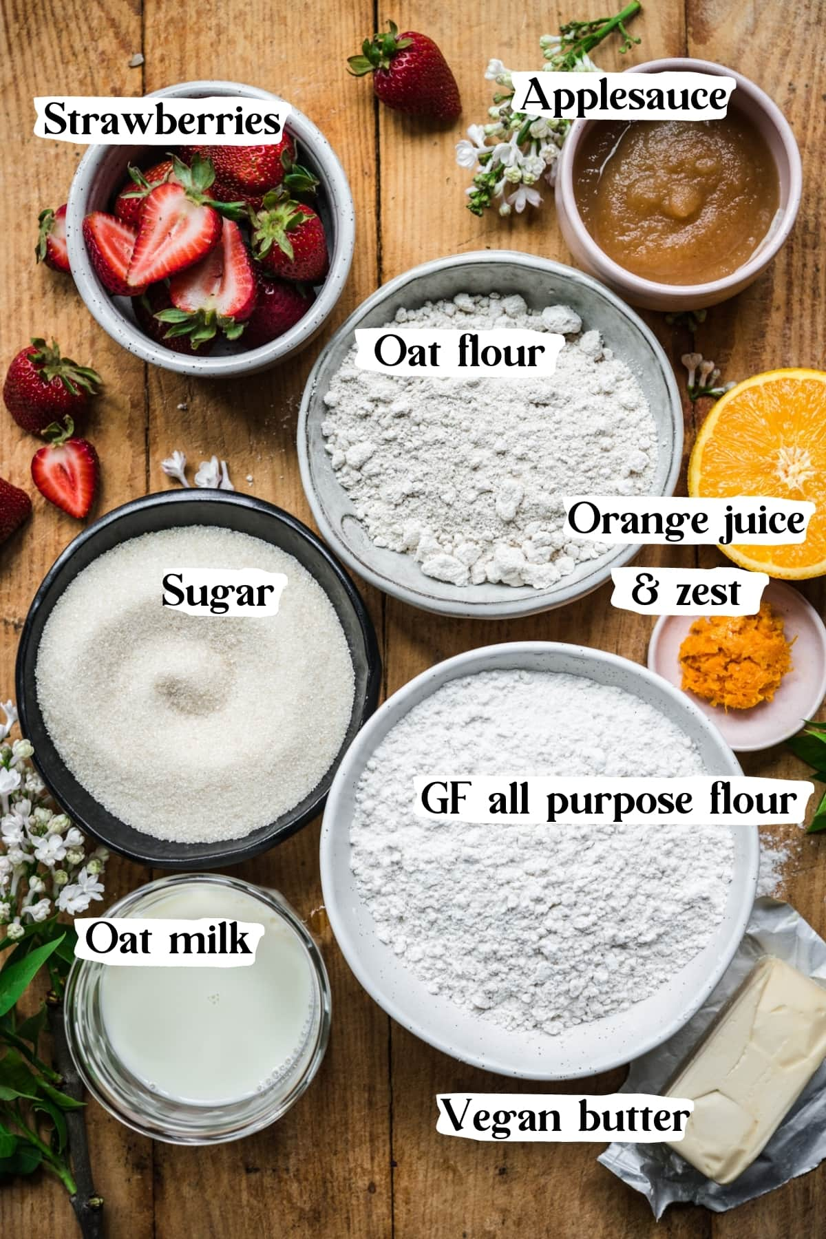 overhead view of ingredients for vegan strawberry muffins.