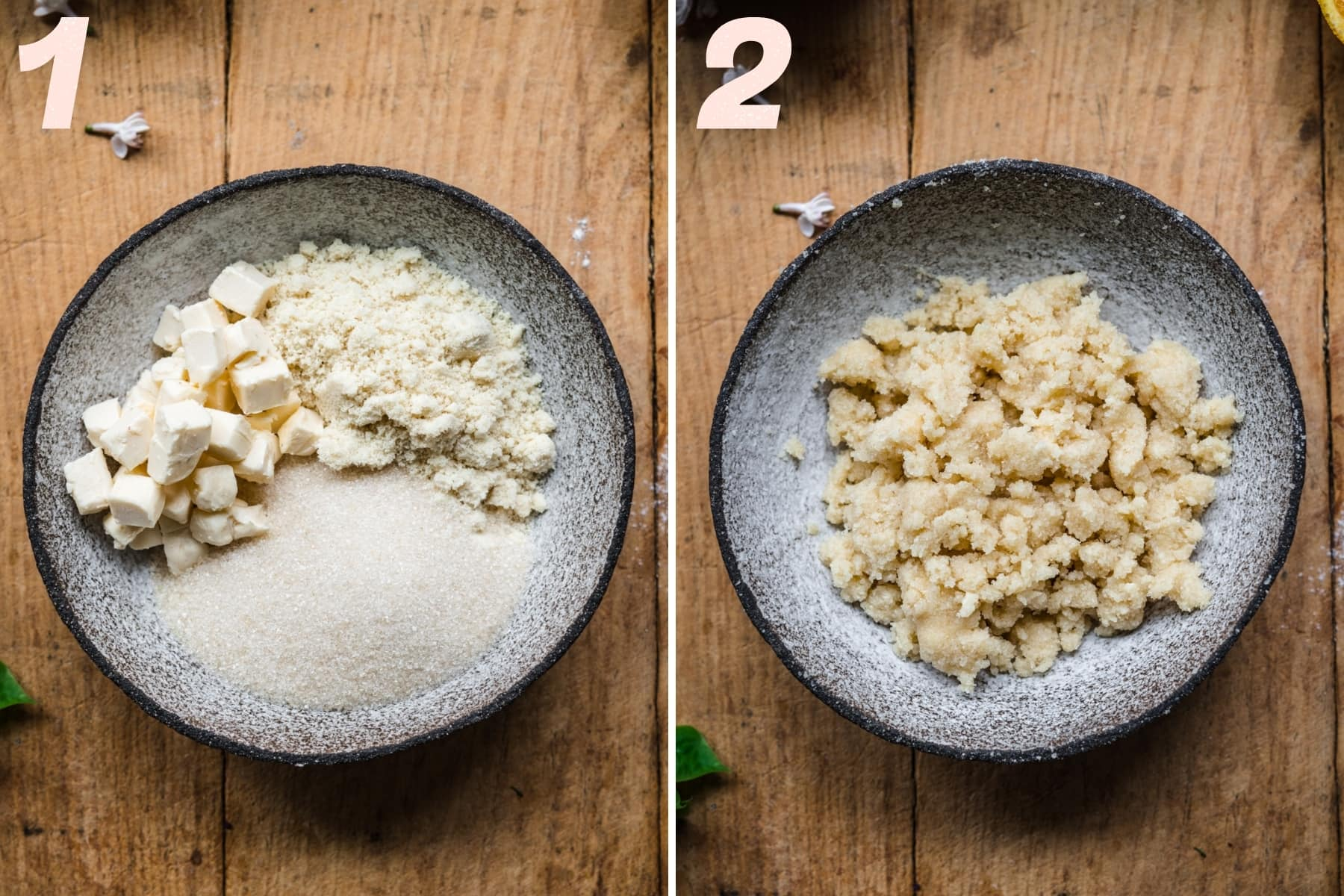 before and after mixing together ingredients for streusel in small bowl.