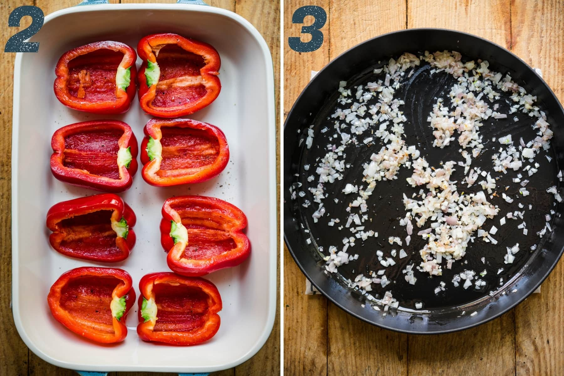 on the left: red bell peppers sliced in half in baking dish. on the right: sautéed shallots and garlic in large skillet.