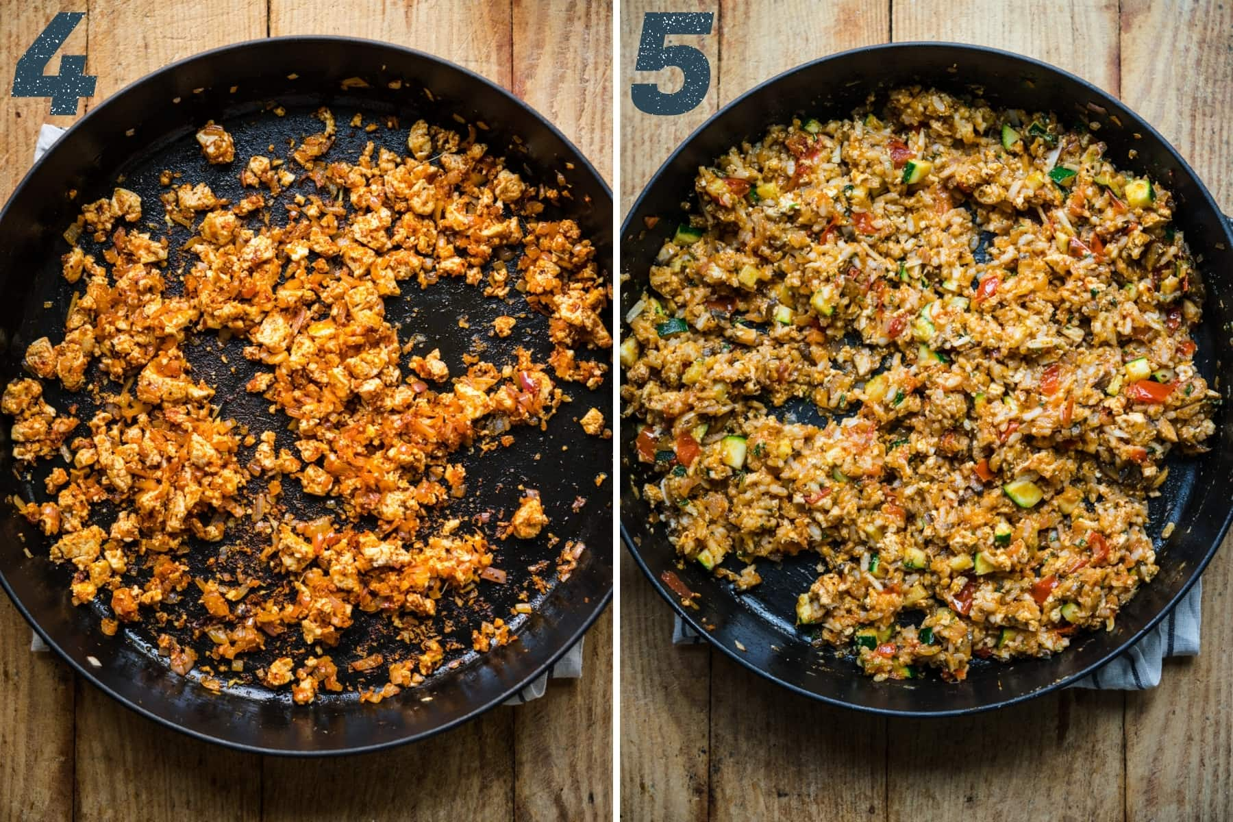 before and after adding risotto rice and vegetables to tofu filling for stuffed peppers.