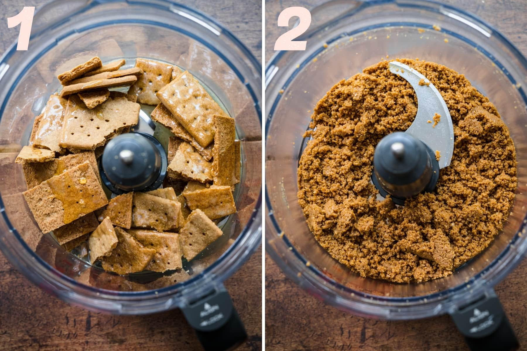 before and after pulsing together ingredients for graham cracker crust in food processor.