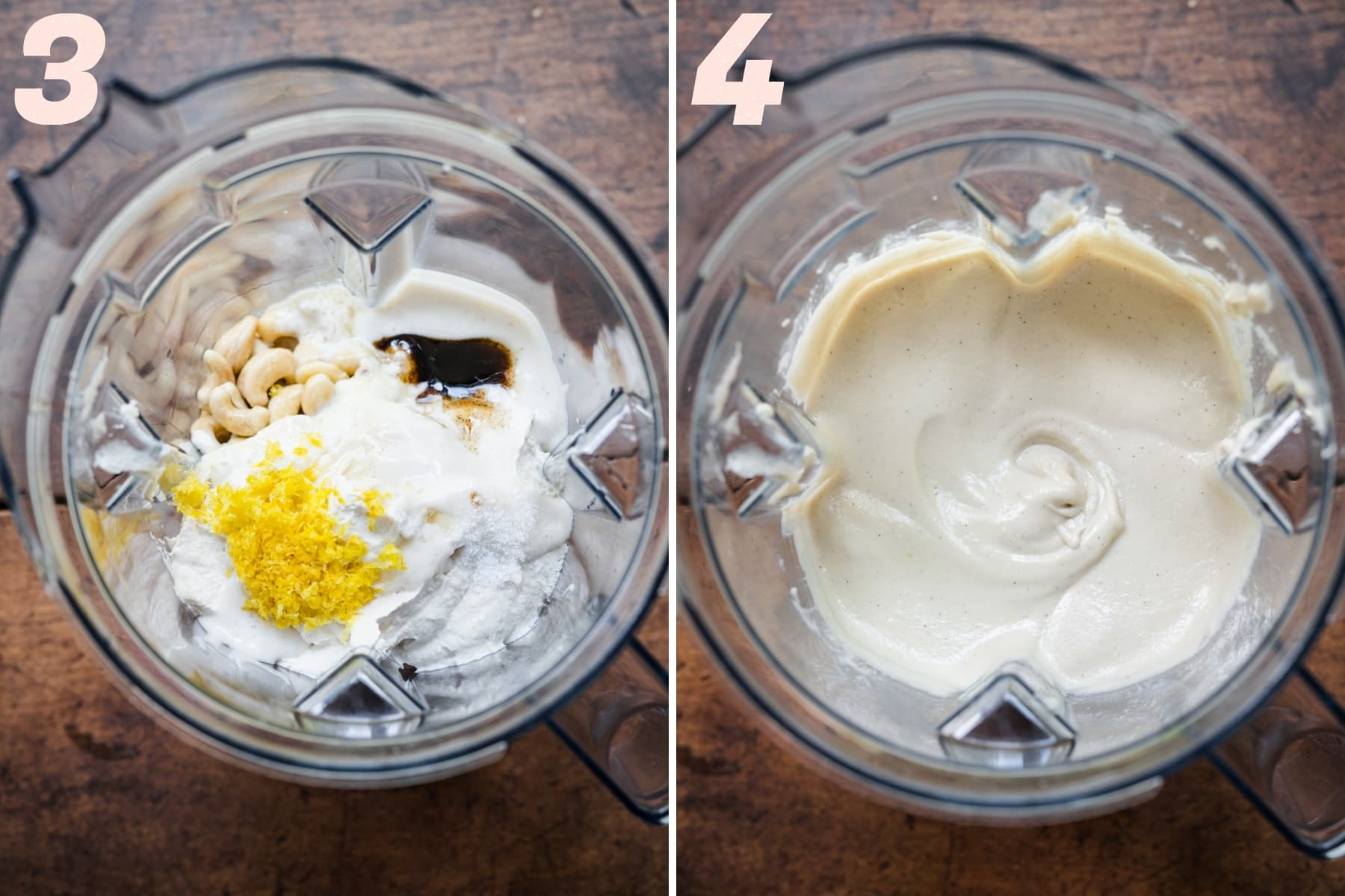 before and after blending ingredients for vegan cheesecake filling in blender.