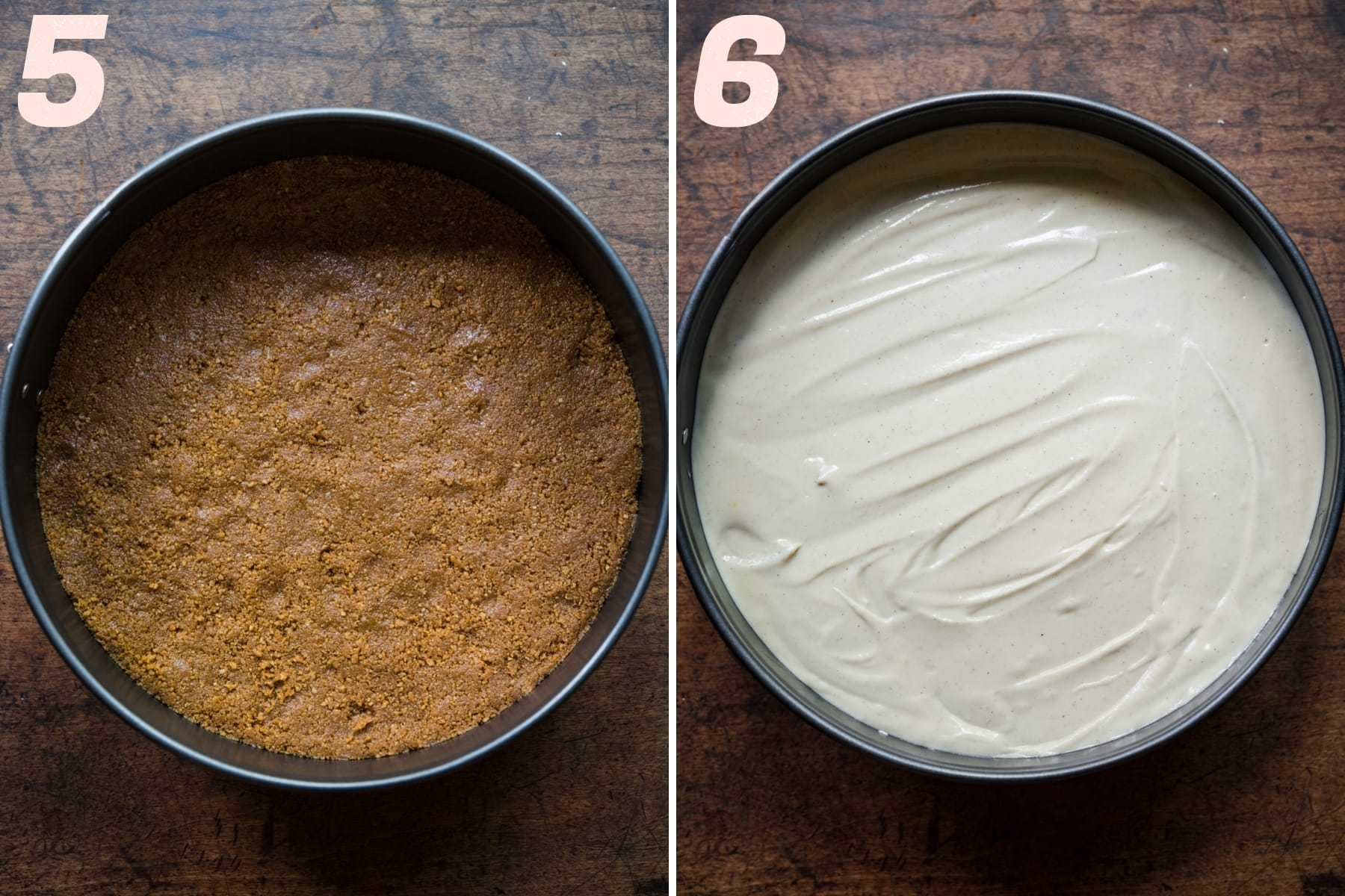 before and after adding vegan cheesecake filling to graham cracker crust.