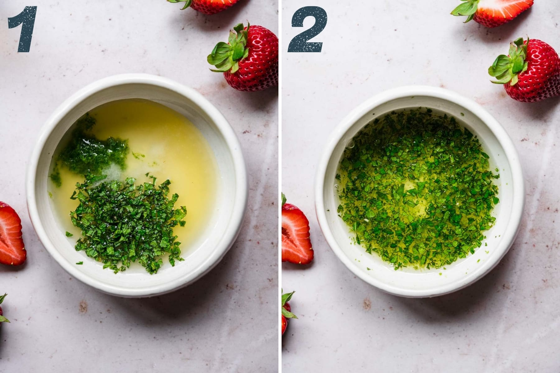 before and after whisking together ingredients for lime mint dressing.