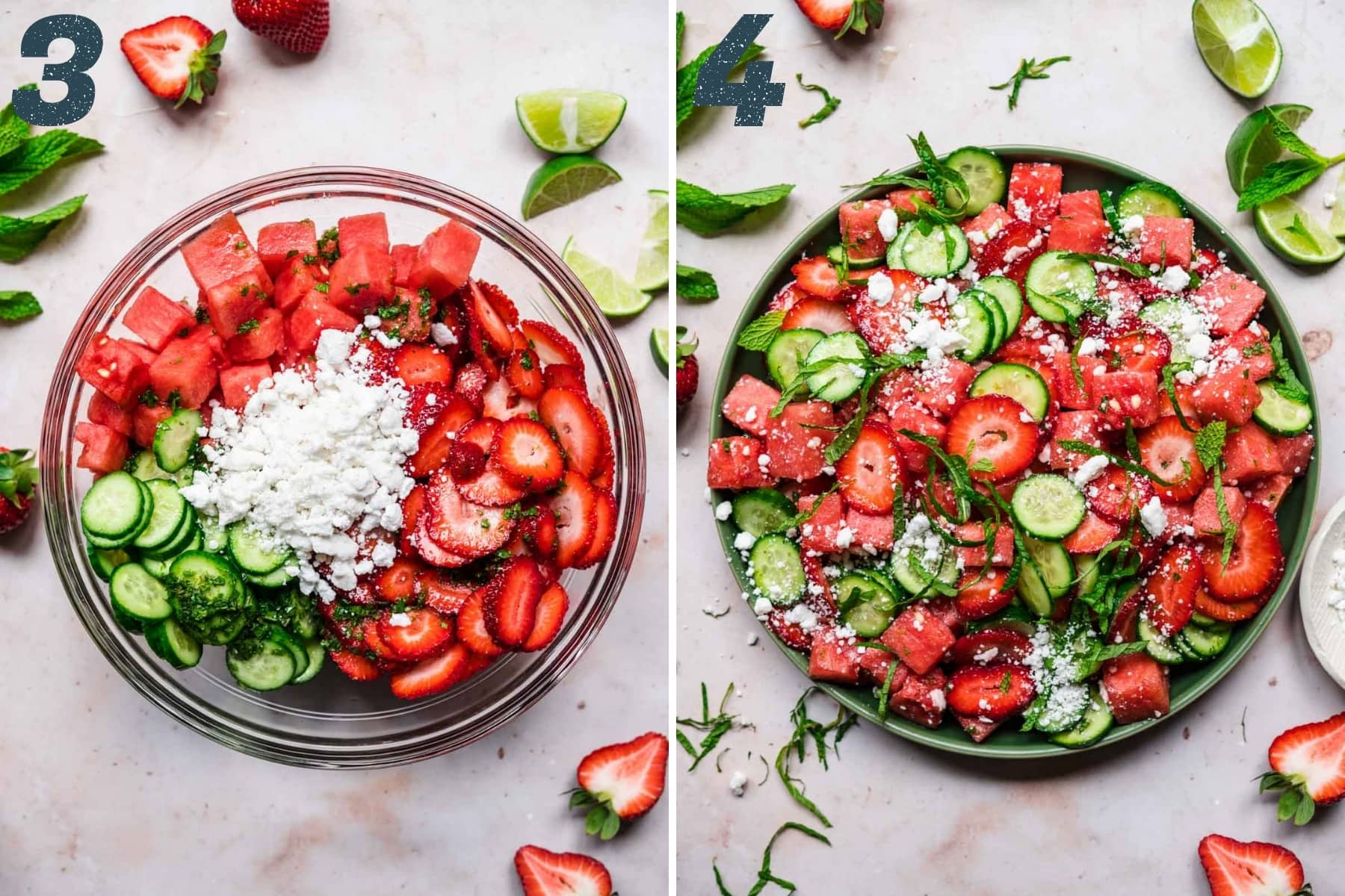 before and after mixing together ingredients for watermelon cucumber salad.