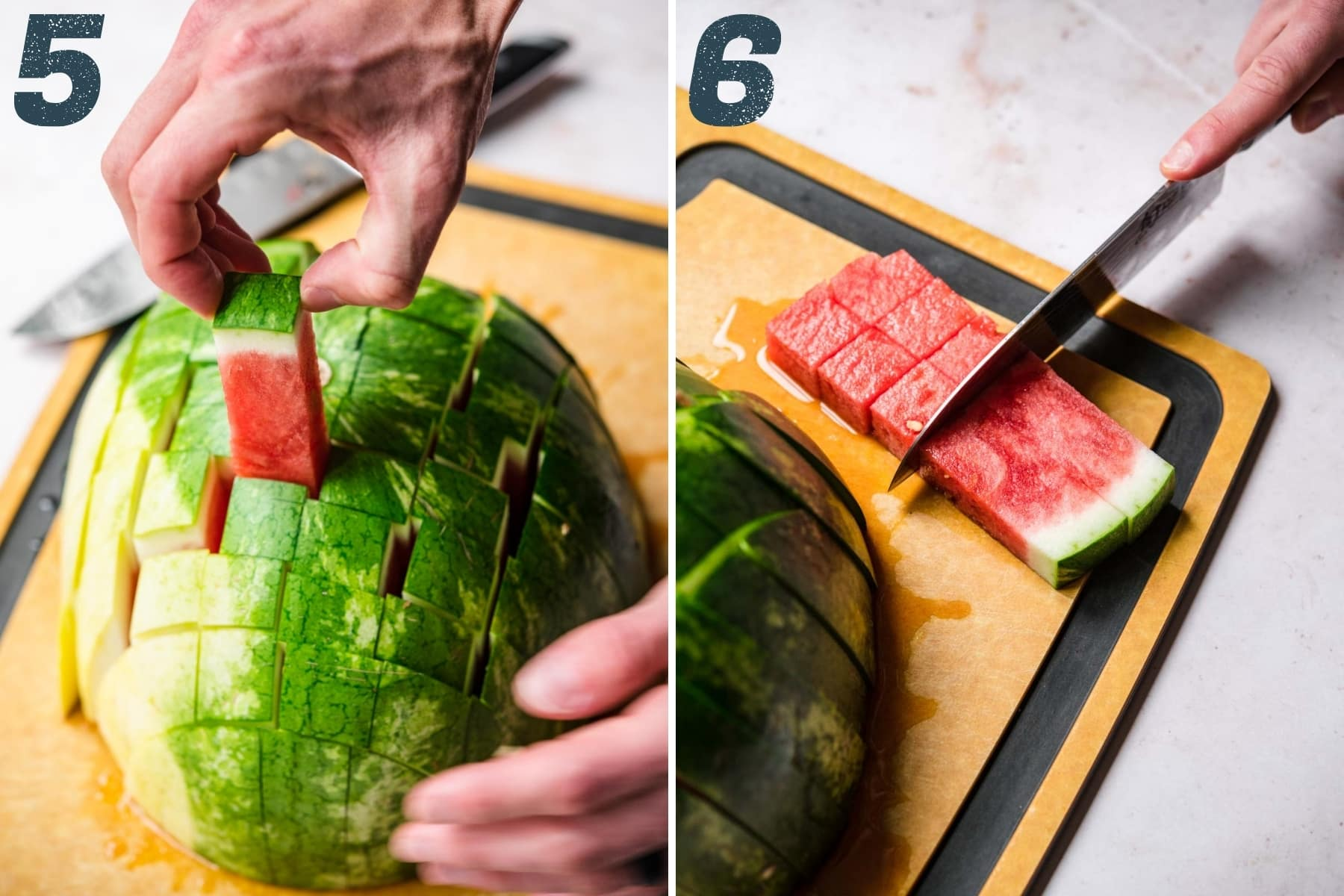 slicing watermelon into cubes.
