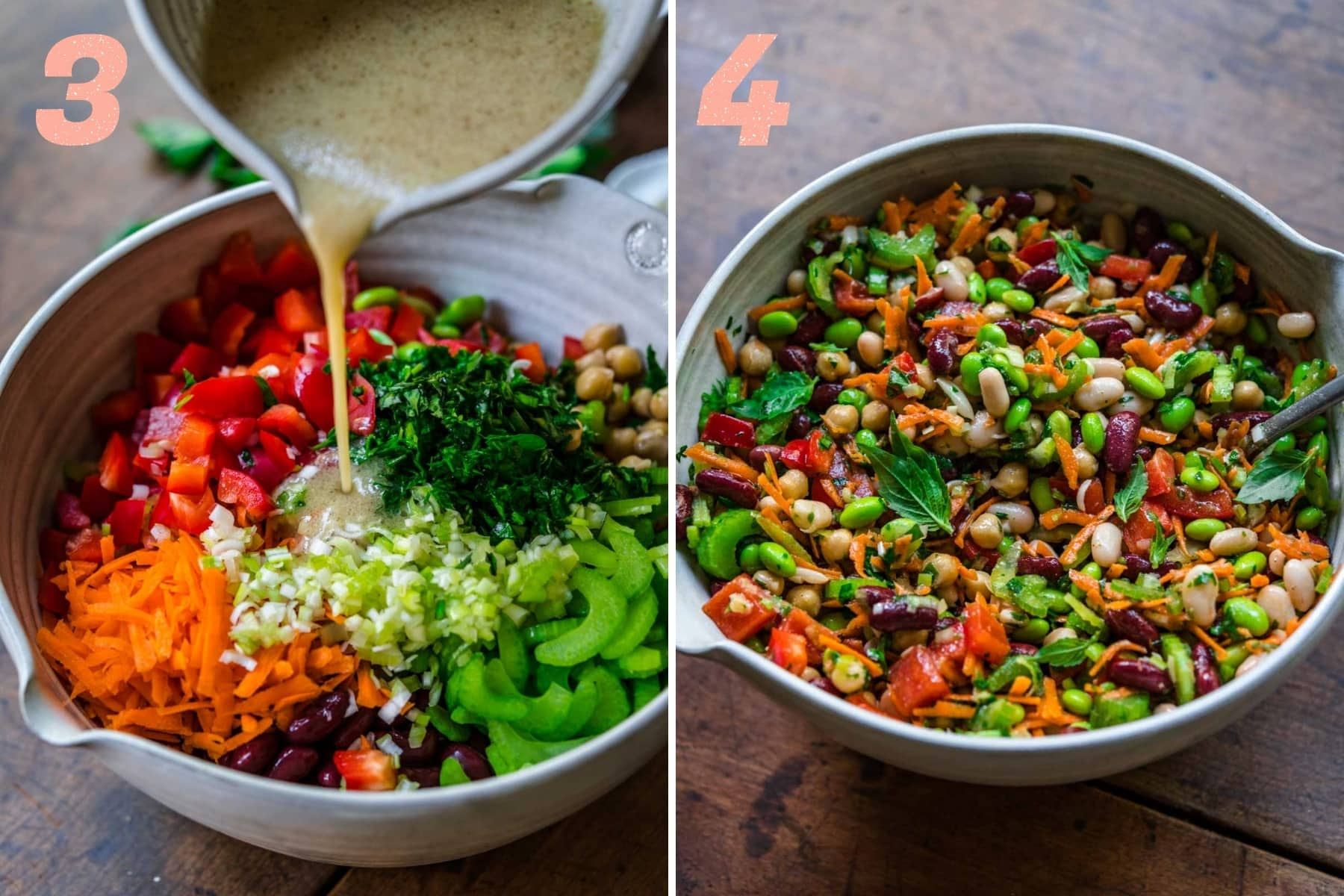 before and after mixing together ingredients for four bean salad in a bowl.