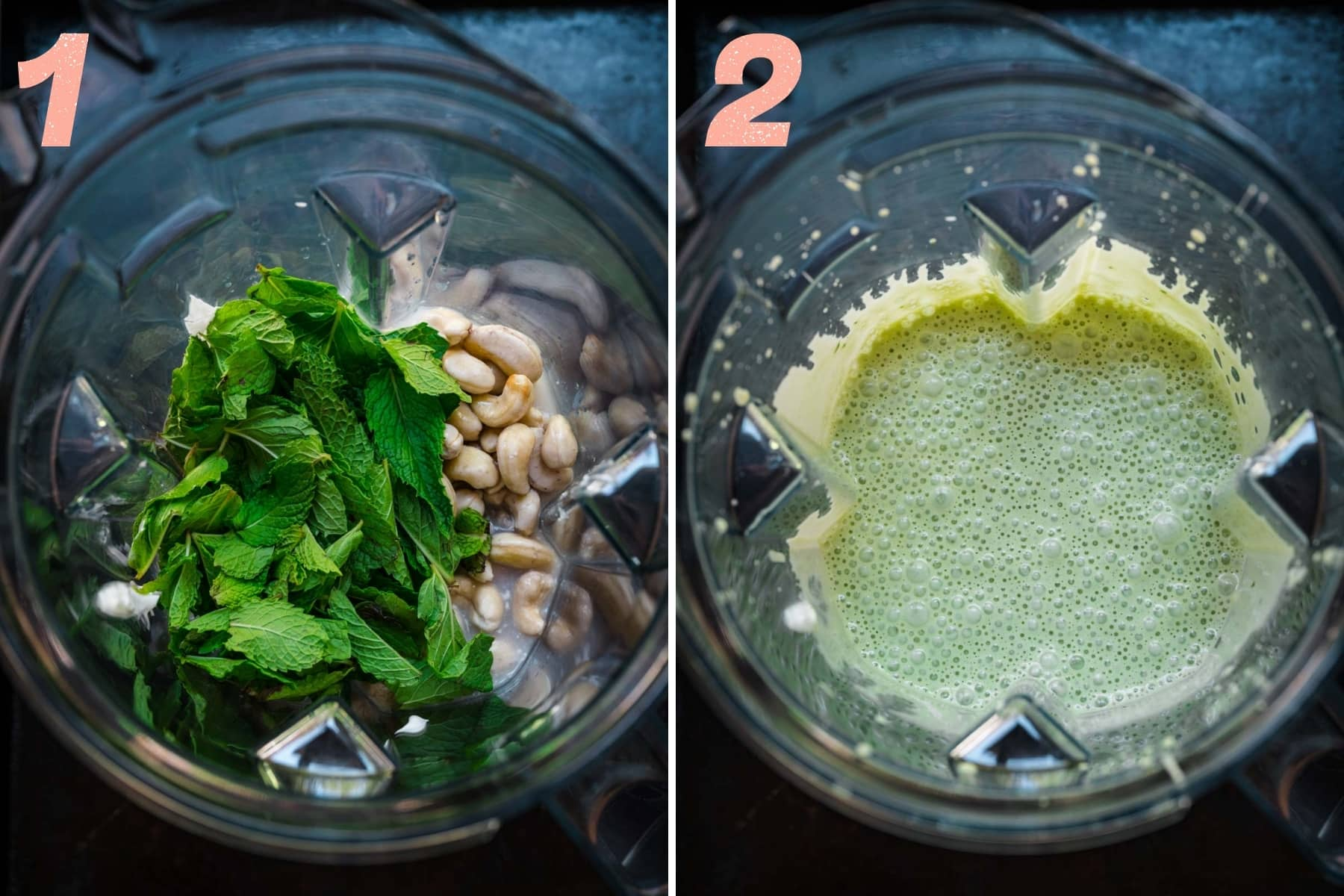 before and after blending ingredients for vegan mint chocolate chip ice cream in blender.