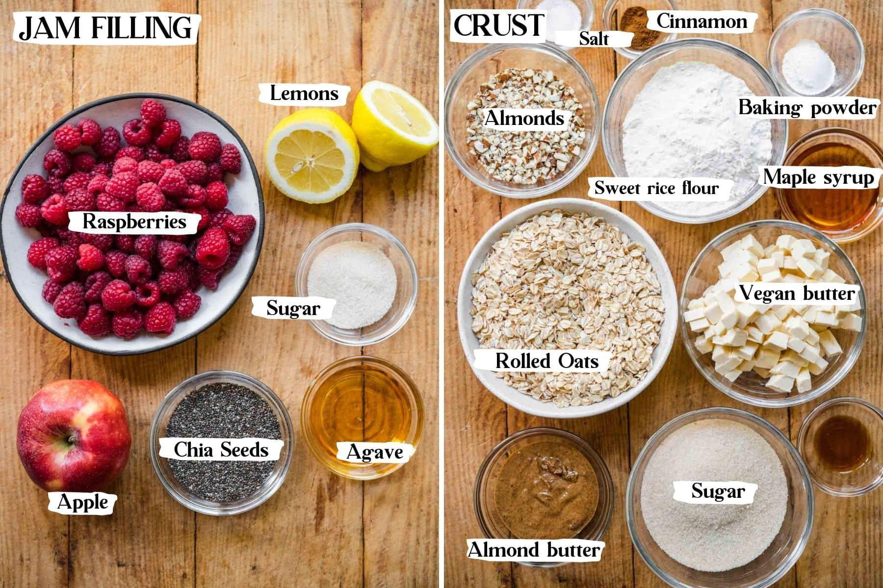 Overhead view of jam and crust ingredients, including raspberries, lemons, sugar, apple, chia seeds, agave, salt, cinnamon, almonds, etc.