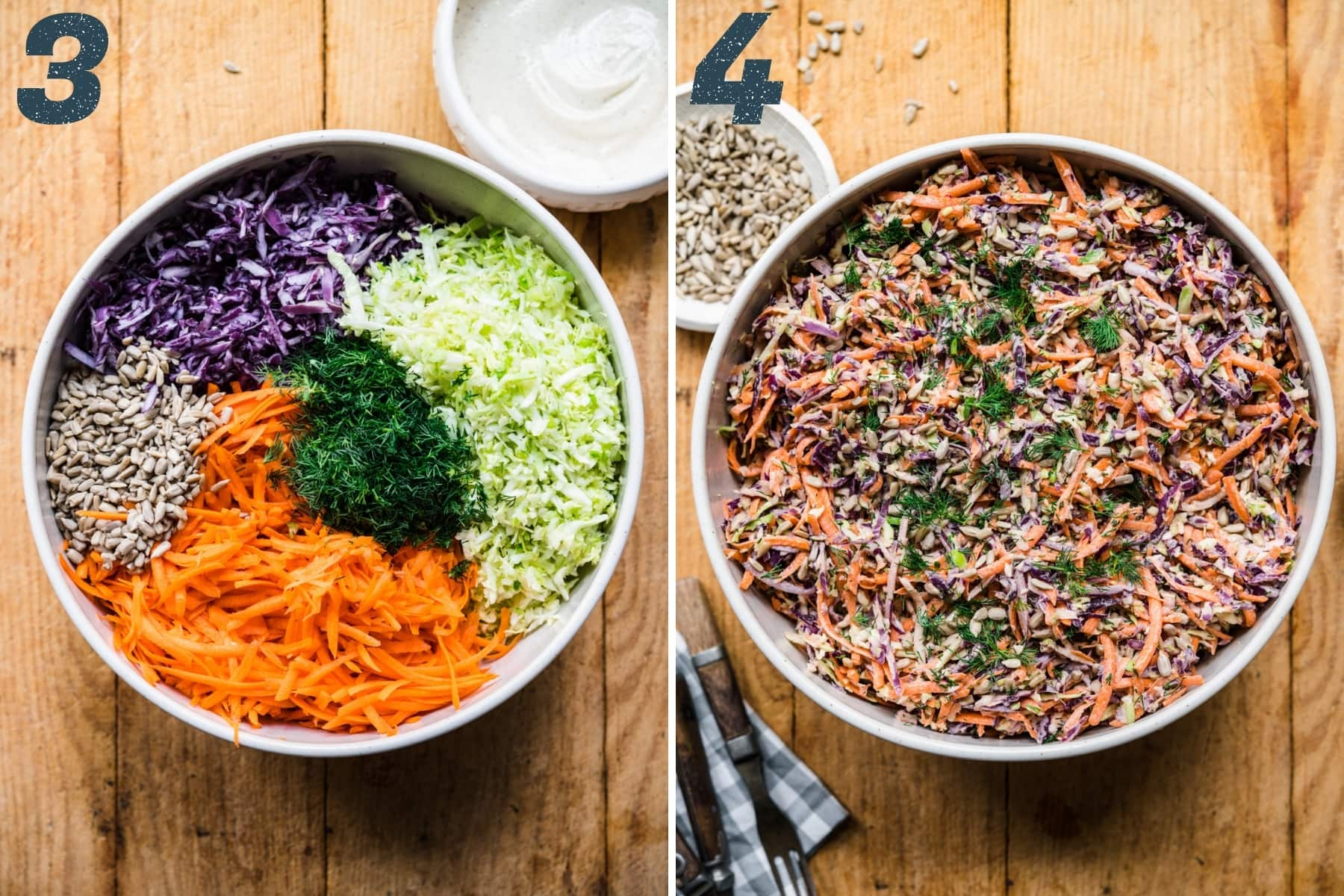 before and after mixing together ingredients for vegan coleslaw in a large mixing bowl.