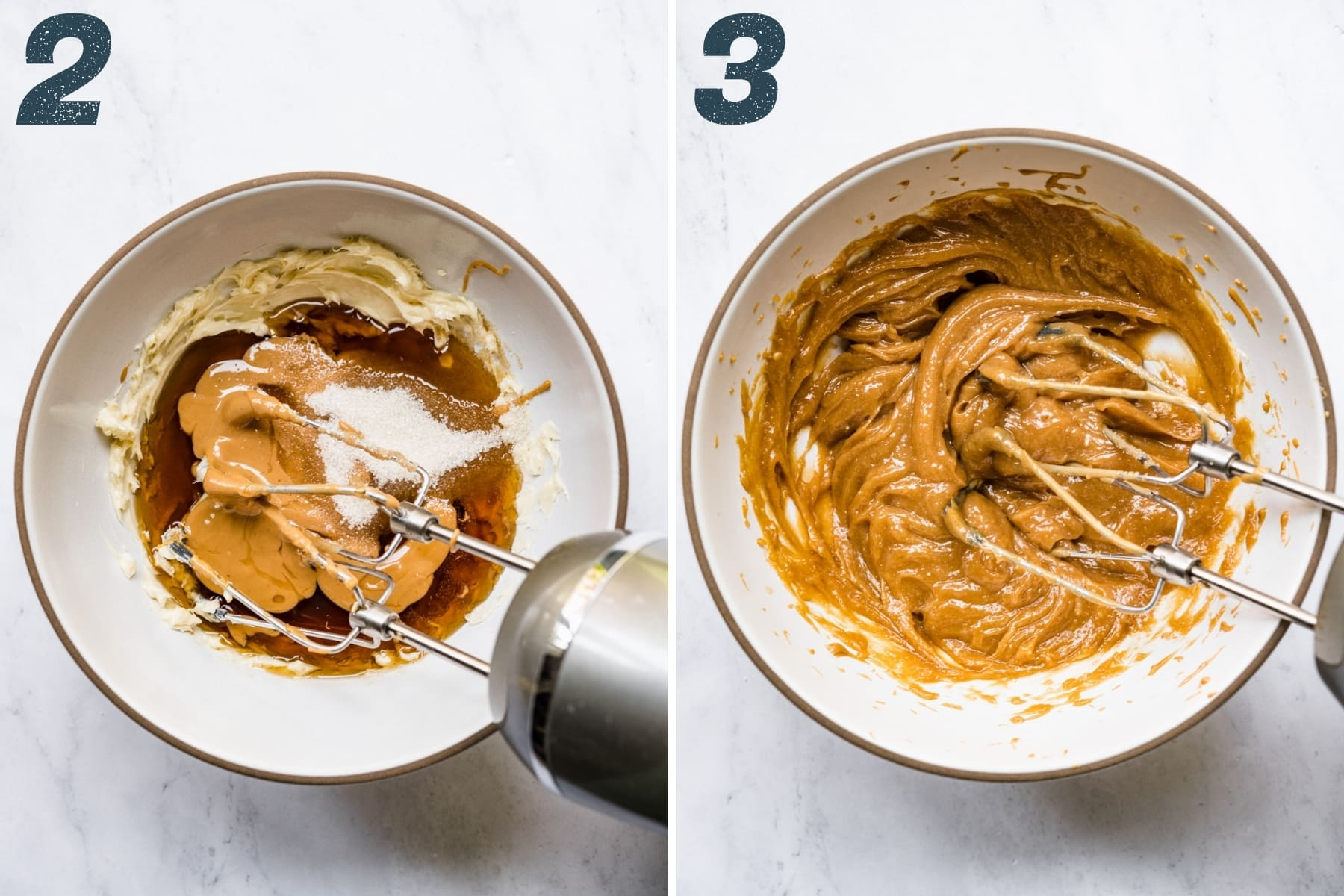 before and after mixing together butter, maple syrup, sugar and peanut butter in mixing bowl.