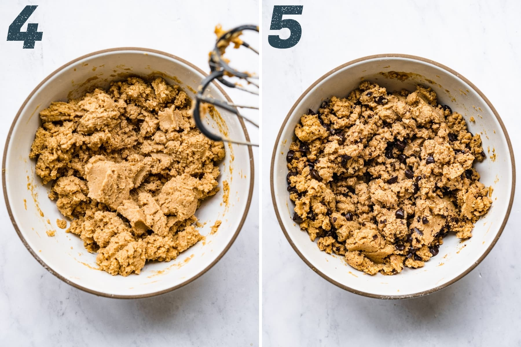 before and after adding chocolate chips to edible cookie dough batter.
