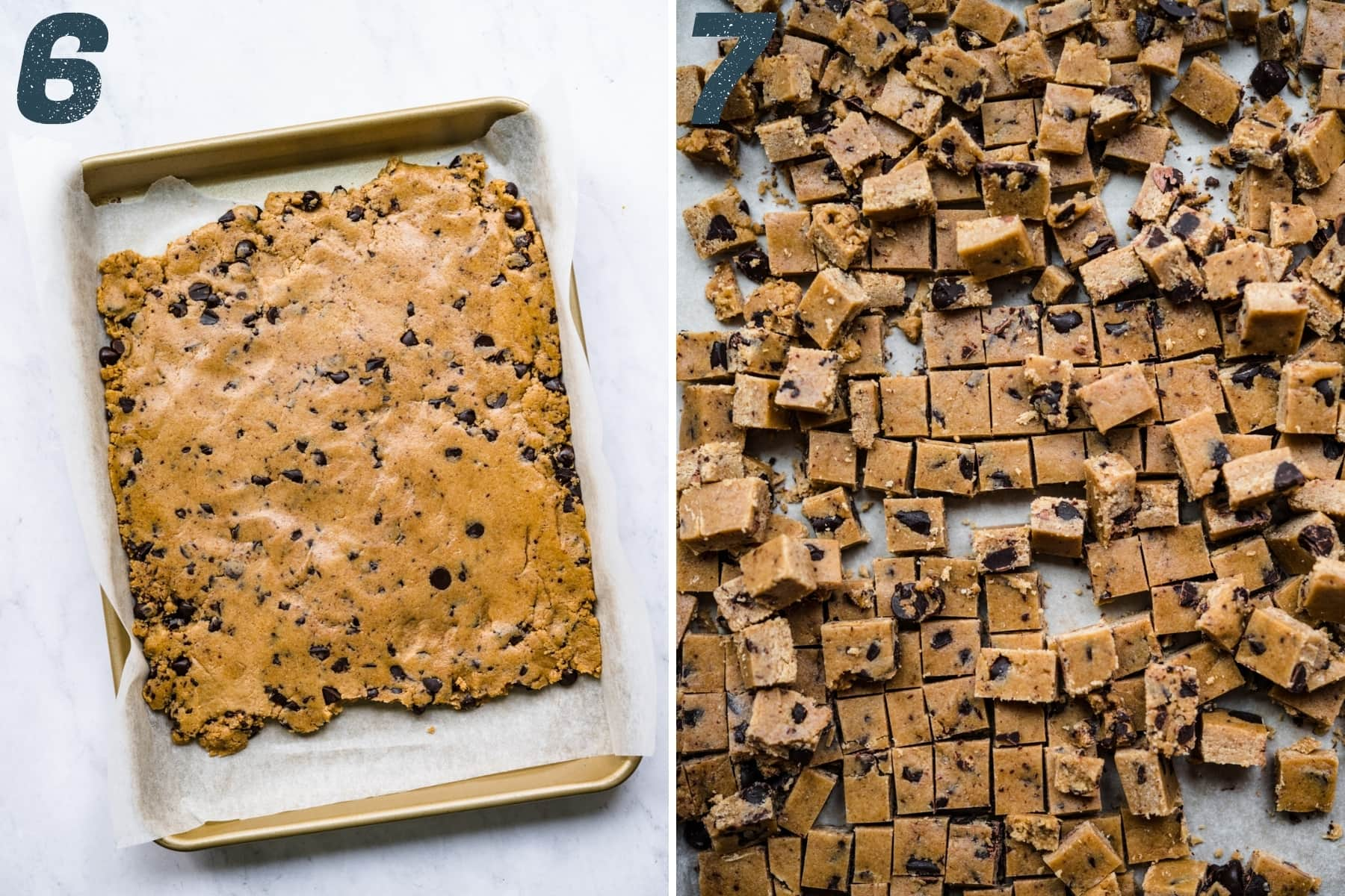 before and slicing edible cookie dough into small squares for ice cream.