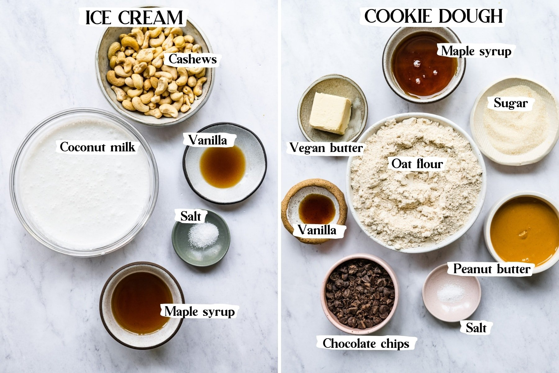 overhead view of ingredients for vegan cookie dough ice cream in small prep bowls.