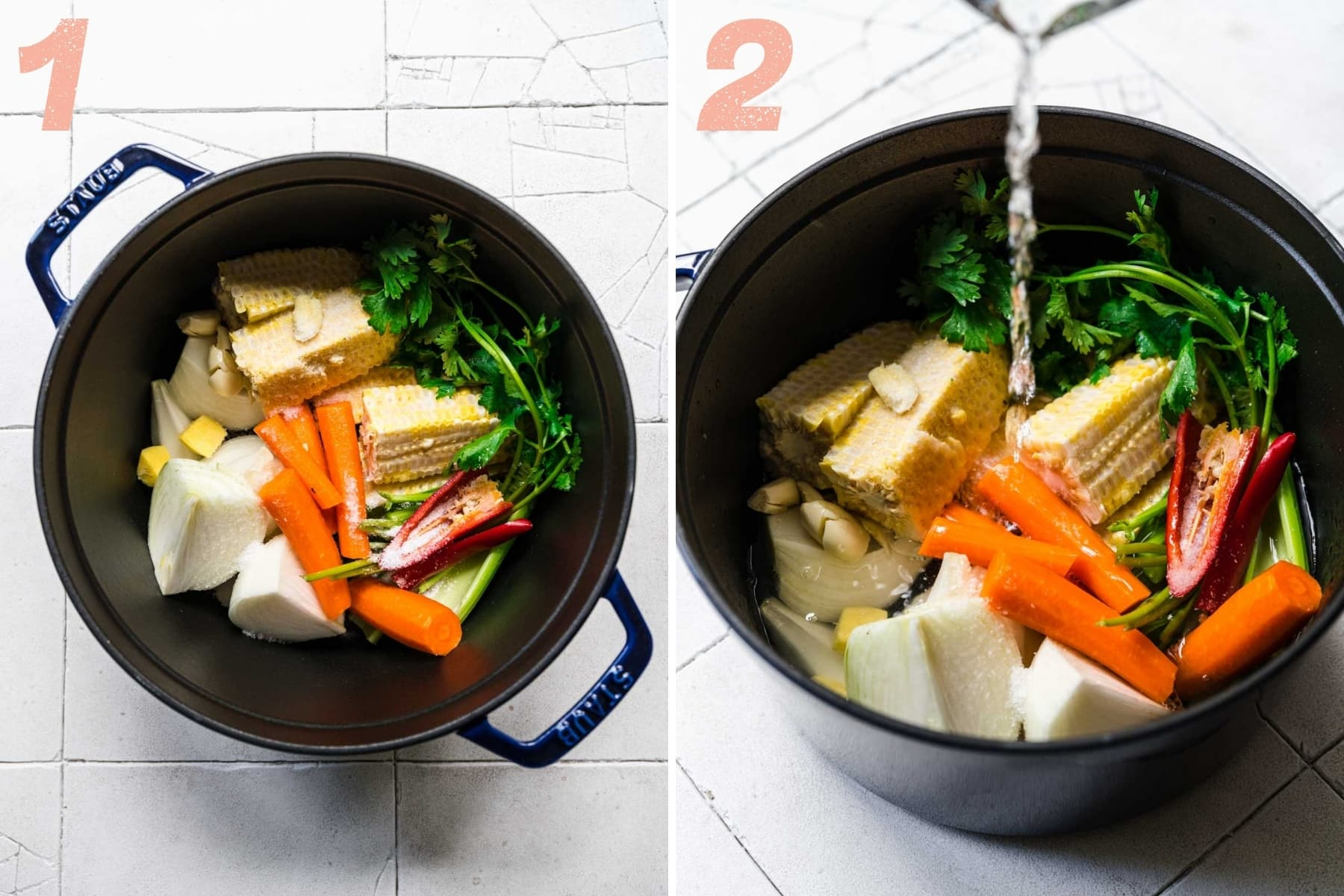 before and after pouring water into pot with ingredients for corn stock.