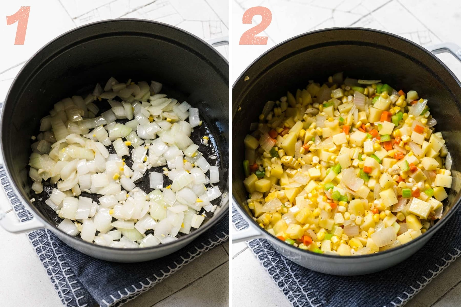 on the left: sauteed onion, garlic and ginger in pot. on the right: sauteed corn, potatoes, carrots and celery in pot.