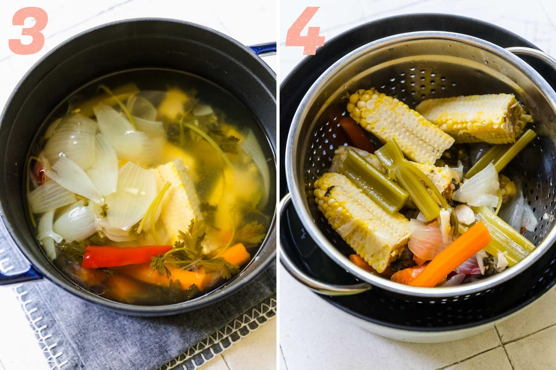 before and after straining homemade corn stock.