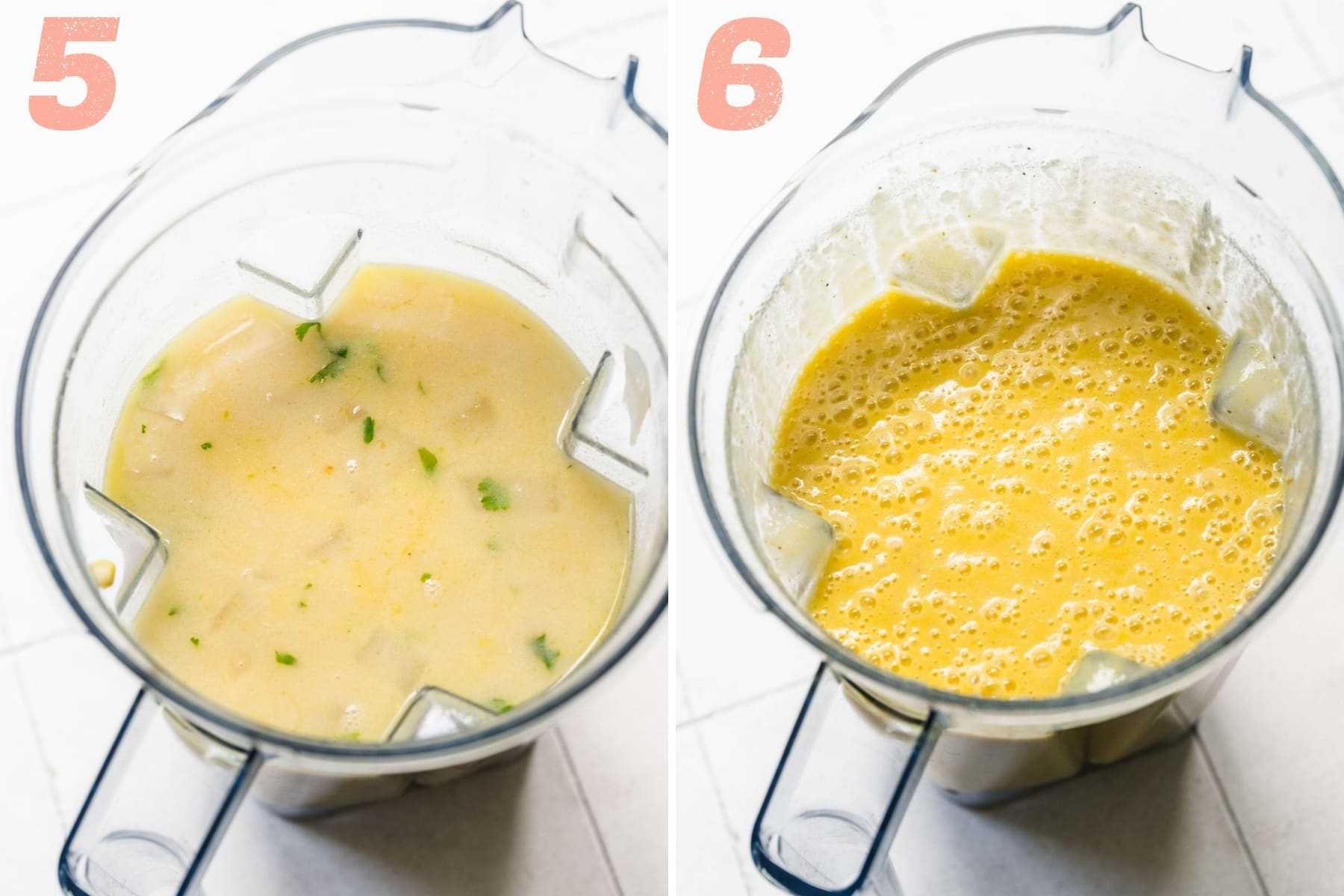 before and after blending vegan corn chowder in blender.