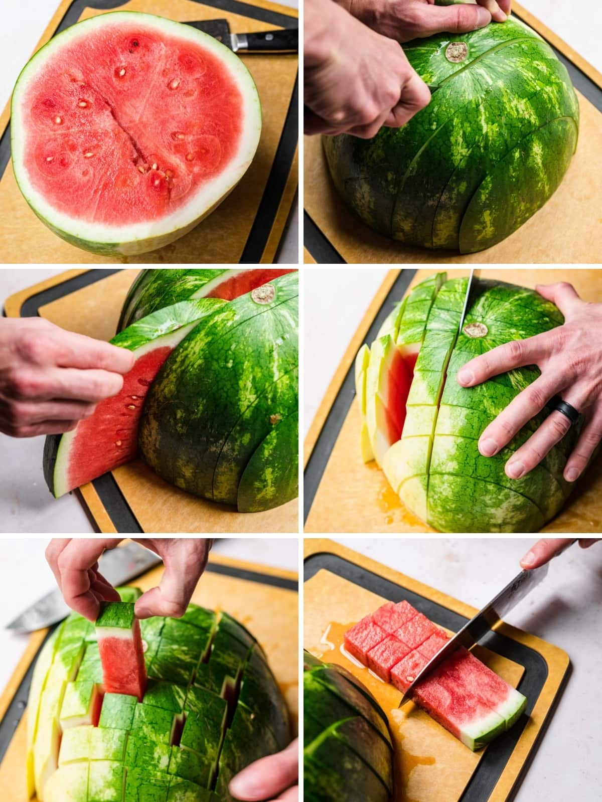 six photos showing how to slice watermelon into cubes.
