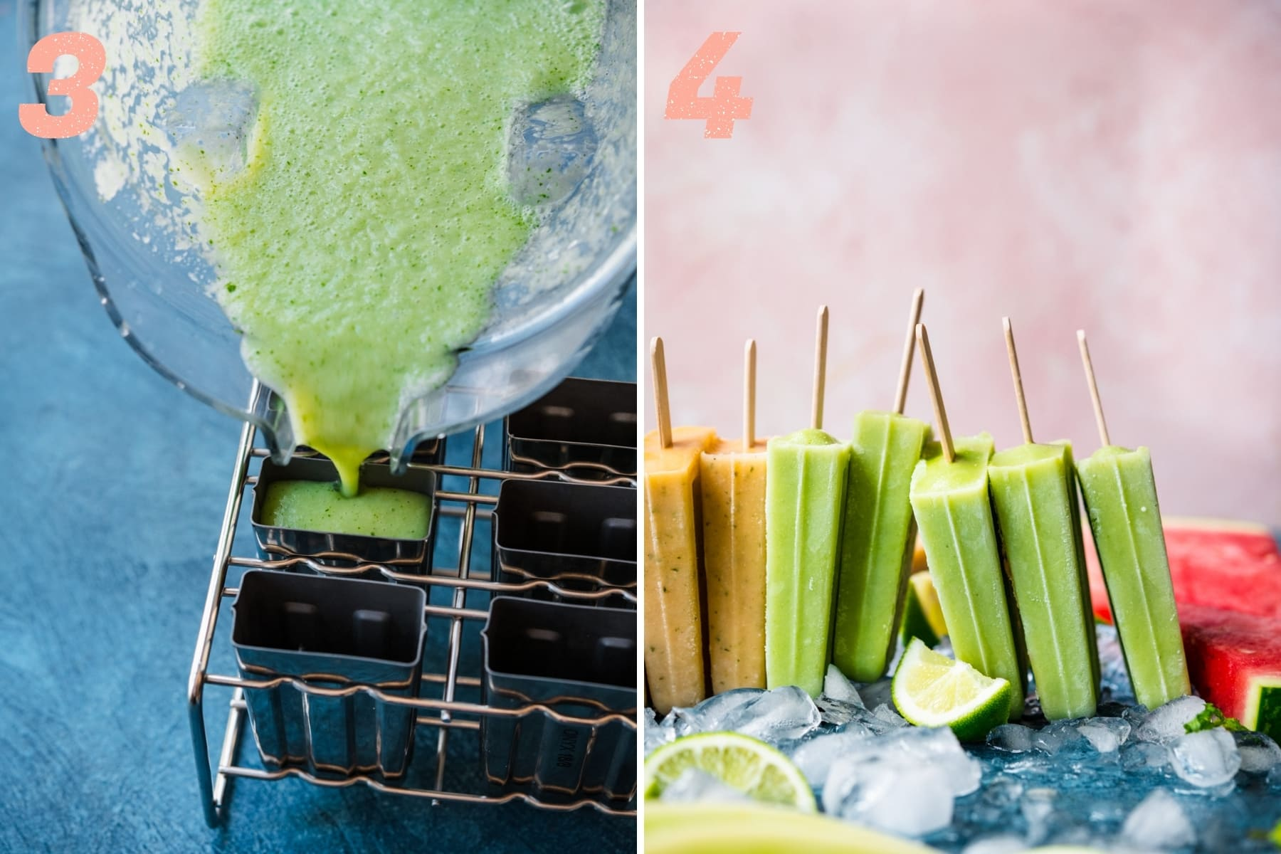 on the left: pouring melon yogurt popsicle mixture into popsicle molds. on the right: close up of honeydew yogurt popsicles.