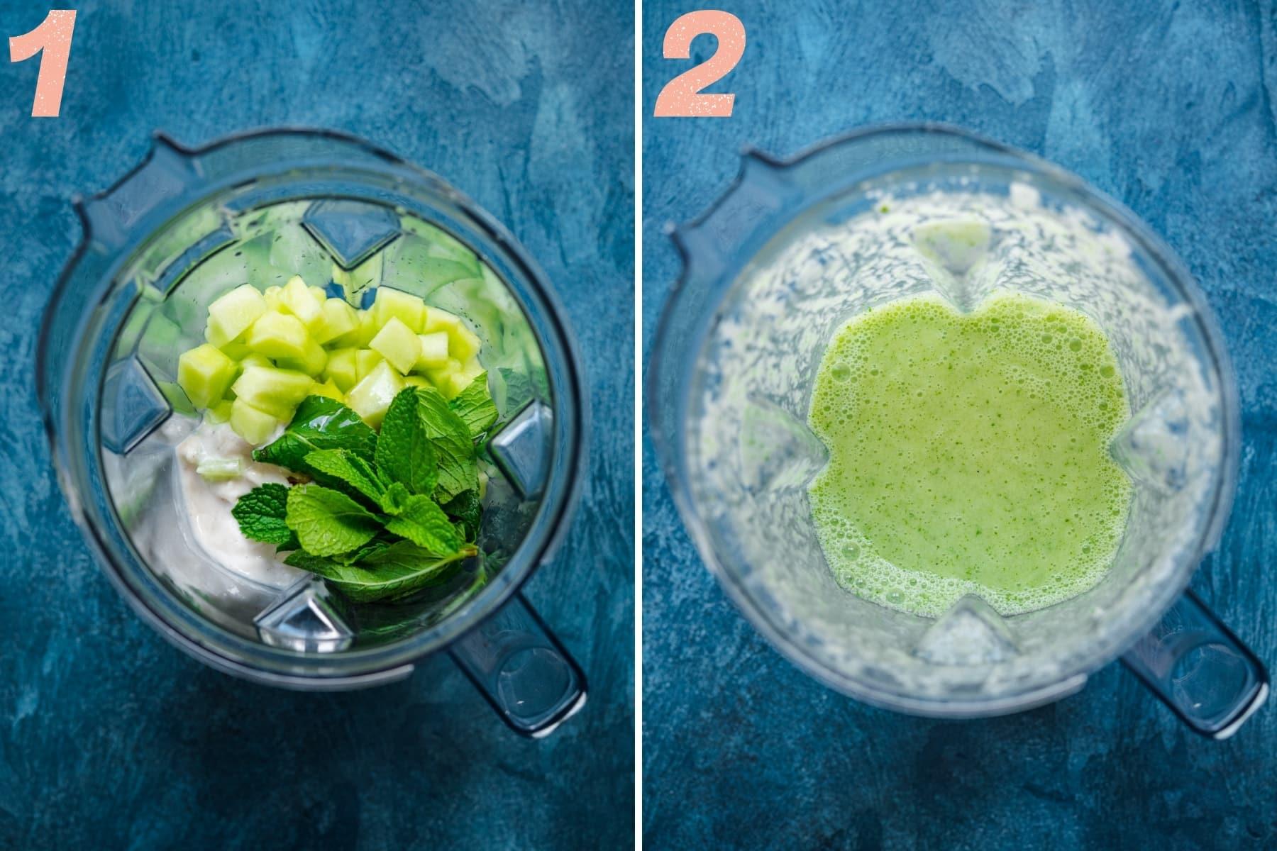 before and after blending ingredients for melon yogurt popsicles in blender.