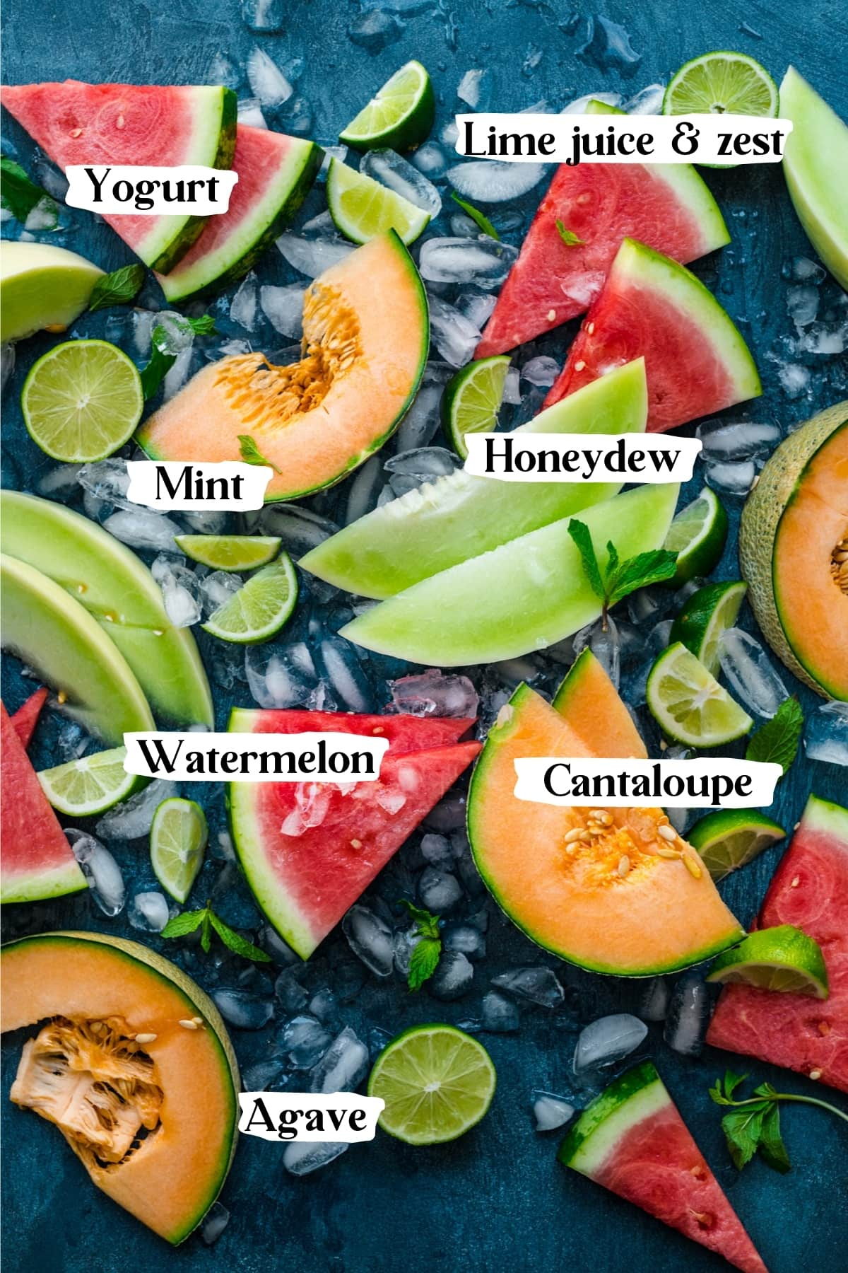 overhead view of ingredients for yogurt melon popsicles.