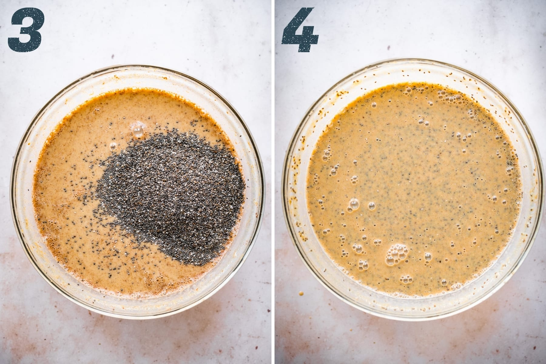 before and after stirring chia seeds into pumpkin chia pudding.