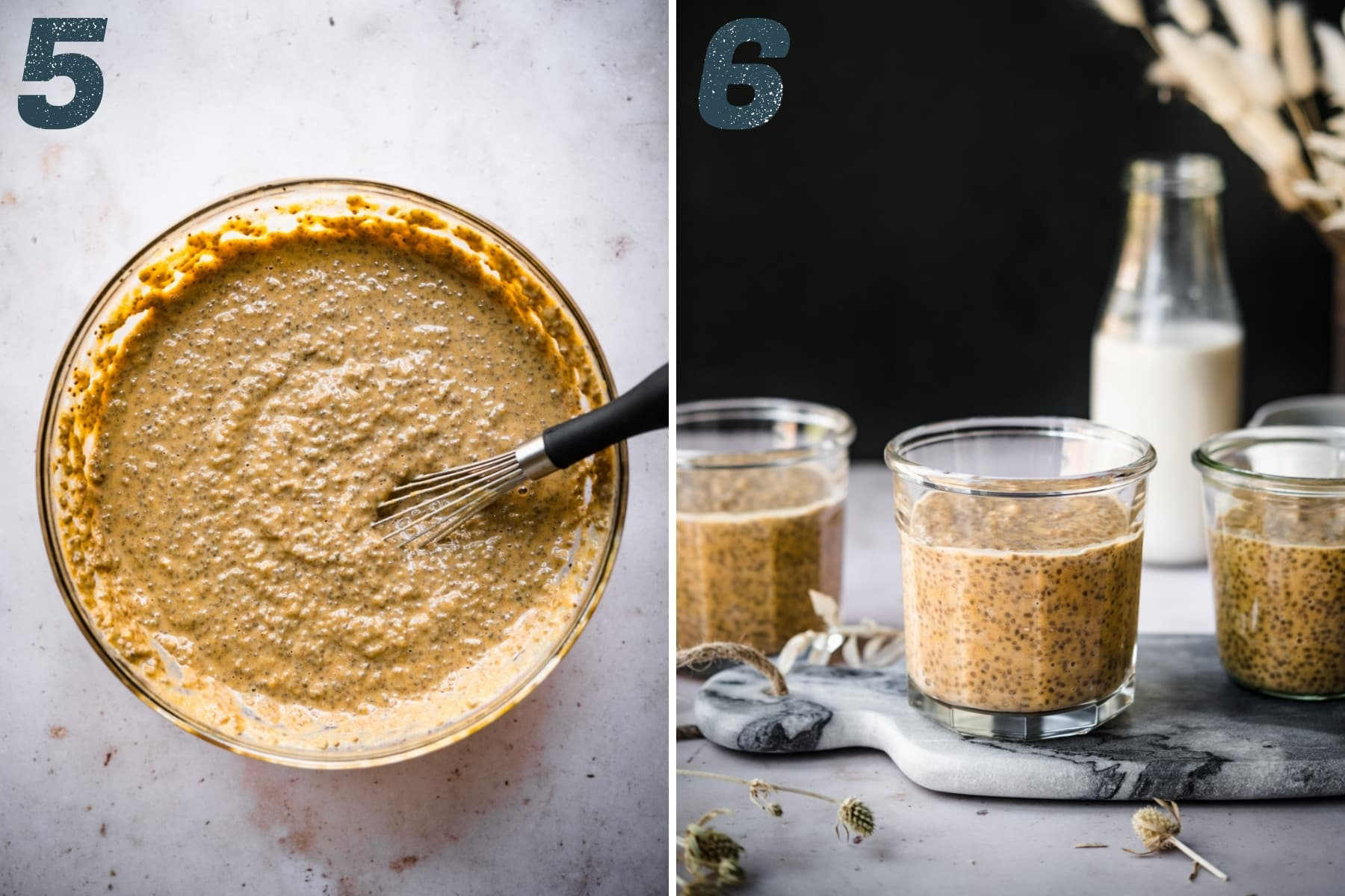 chia pudding in a large mixing bowl and in small glass jars for serving.