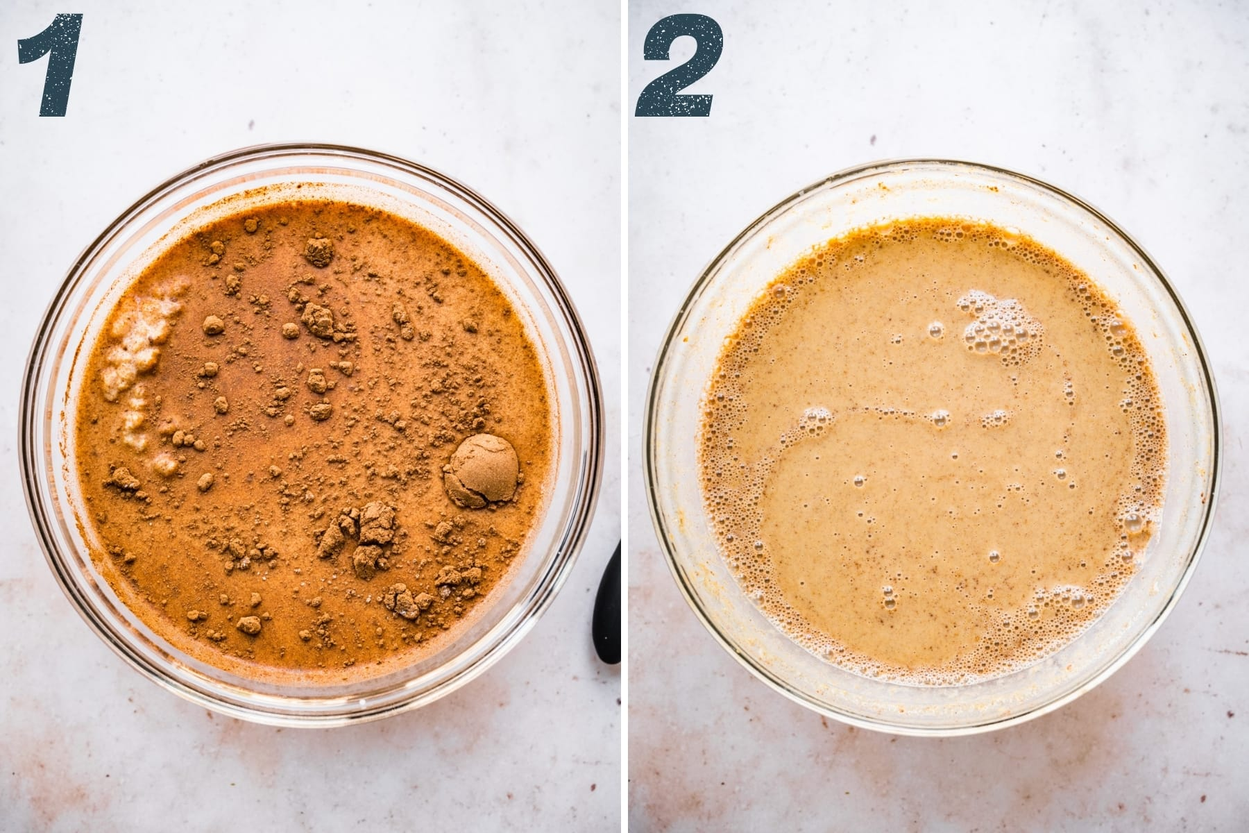 before and after stirring together ingredients for vegan pumpkin chia pudding in bowl.