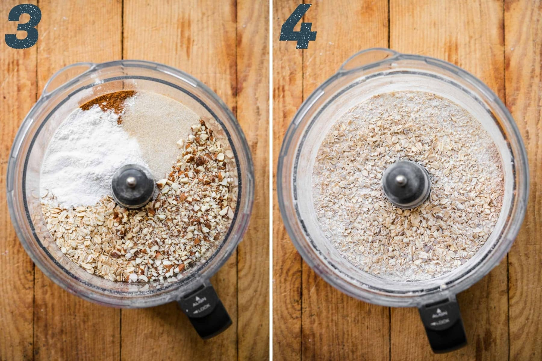 before and after pulsing together ingredients for oat crust in food processor.