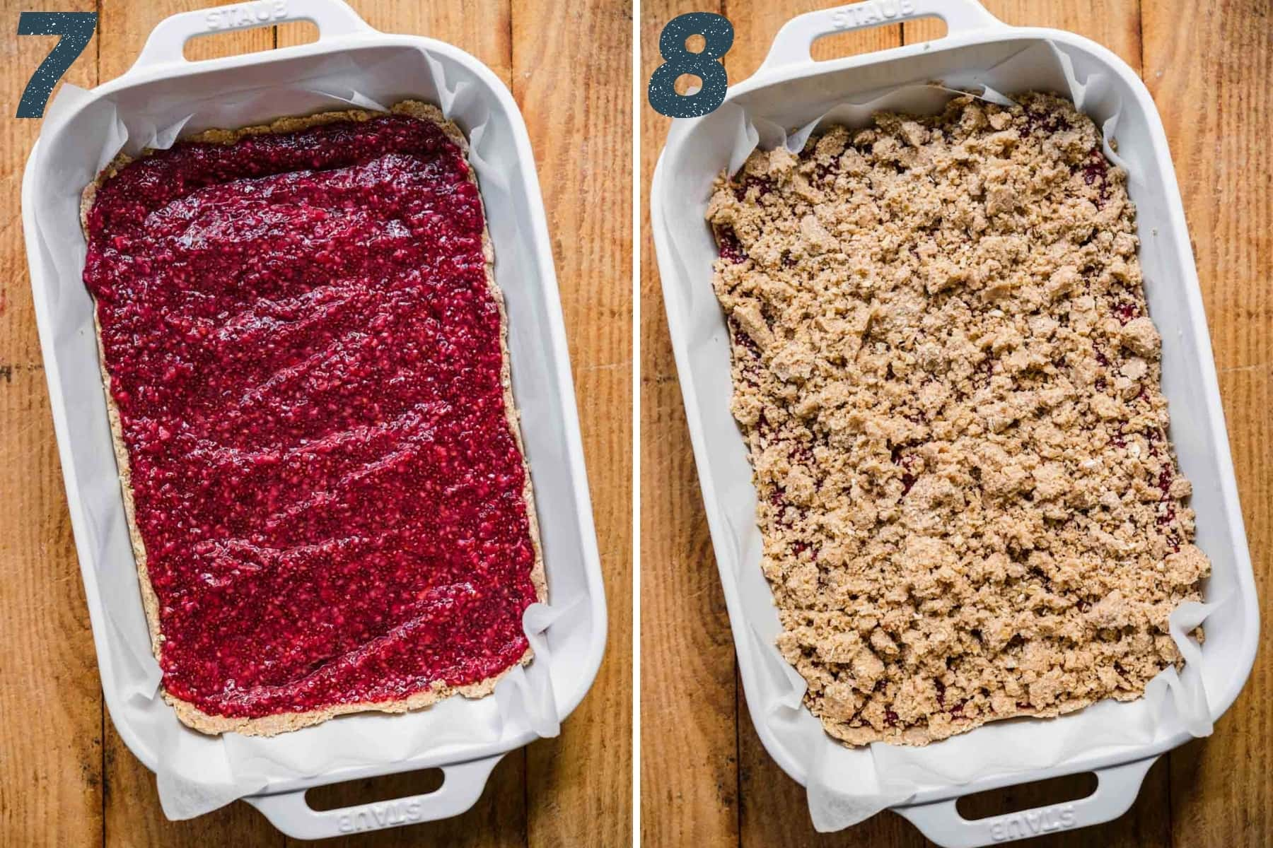 before and after topping raspberry jam with oat crumble in pan.