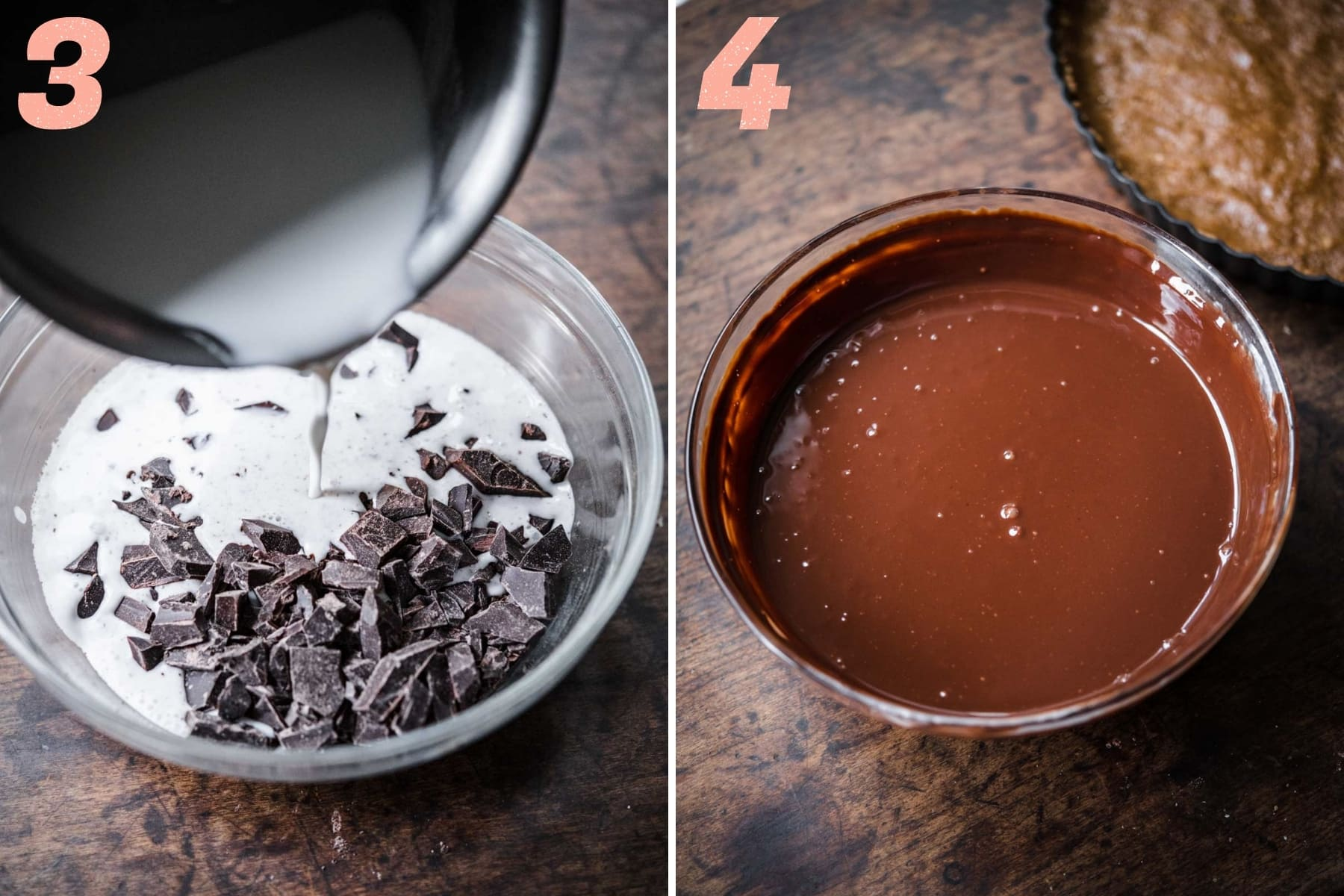 before and after whisking together chocolate ganache filling.
